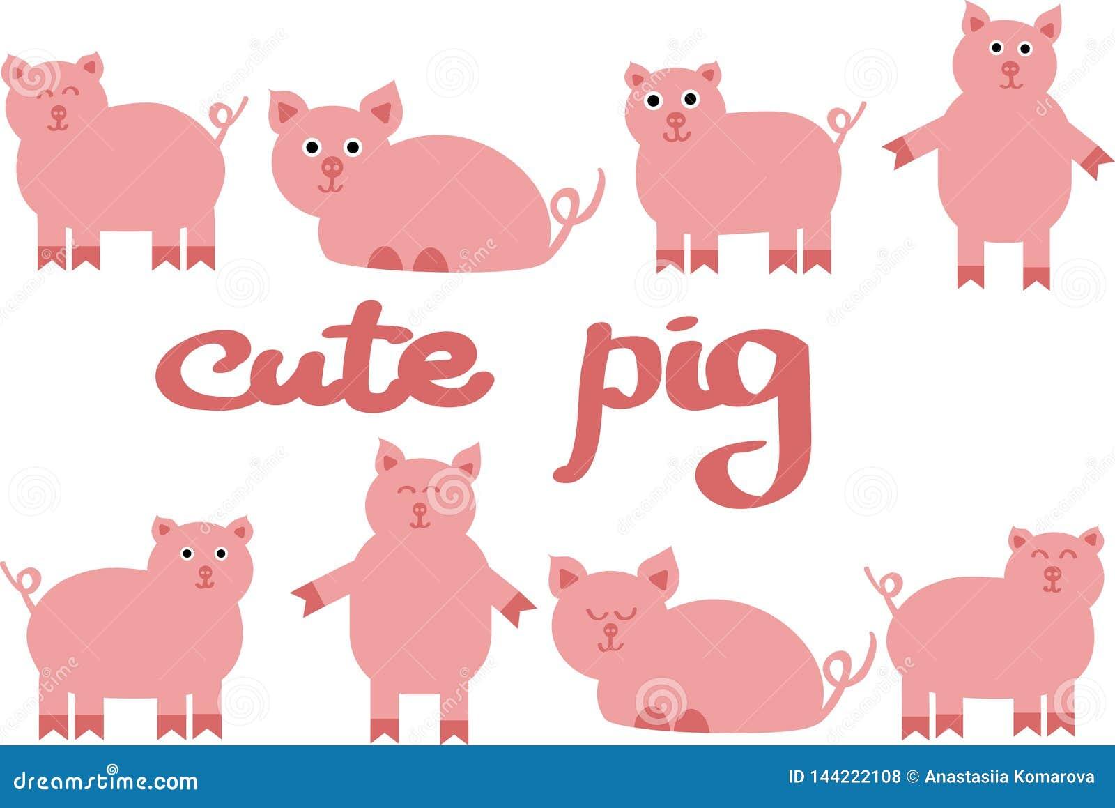 Милая иллюстрация вектора свиньи, рисовать животноводческих ферм