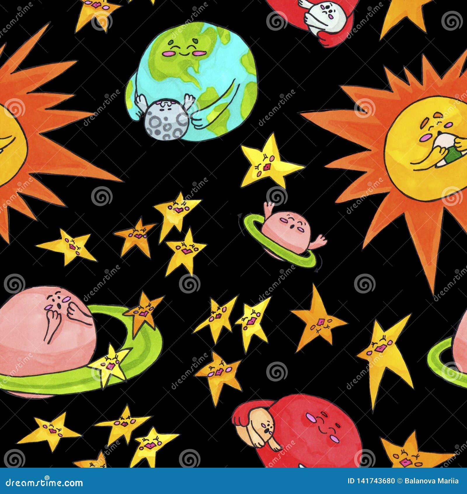 Милая картина космоса для детей Планеты и солнце