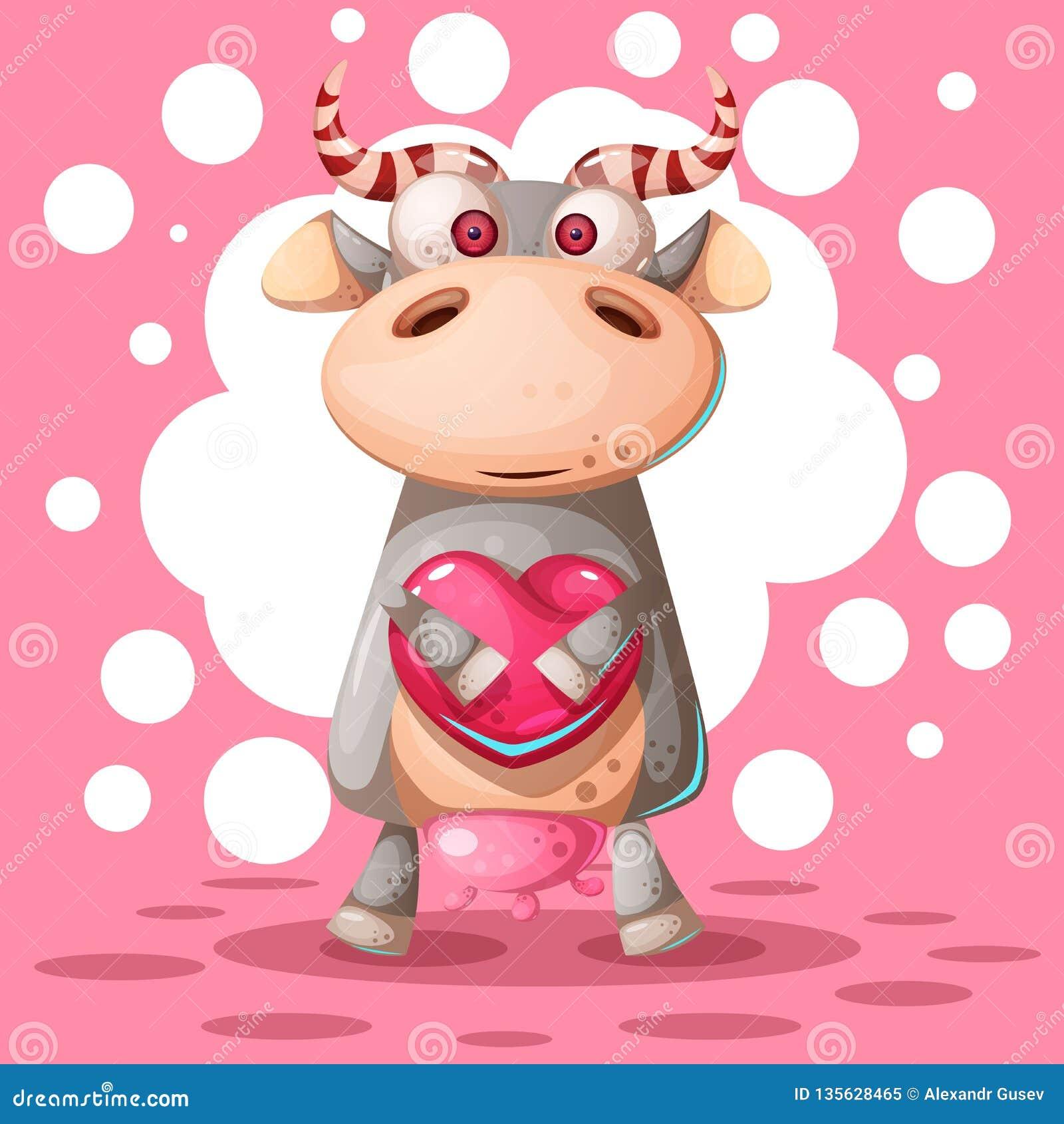 Милая корова с воздушным шаром сердца Иллюстрация влюбленности