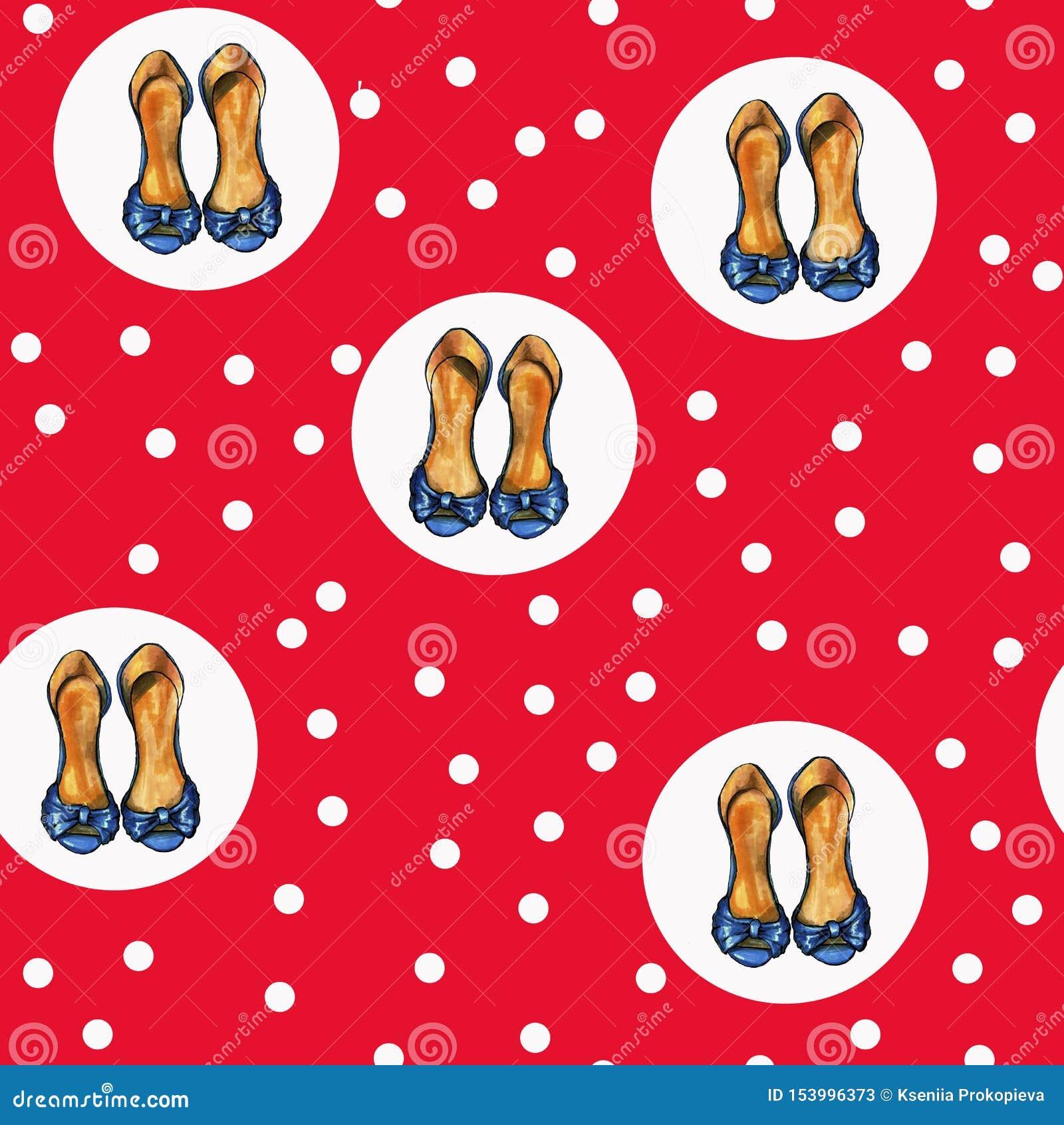 Милая красная картина с белыми точками и ботинками пятки шпилек