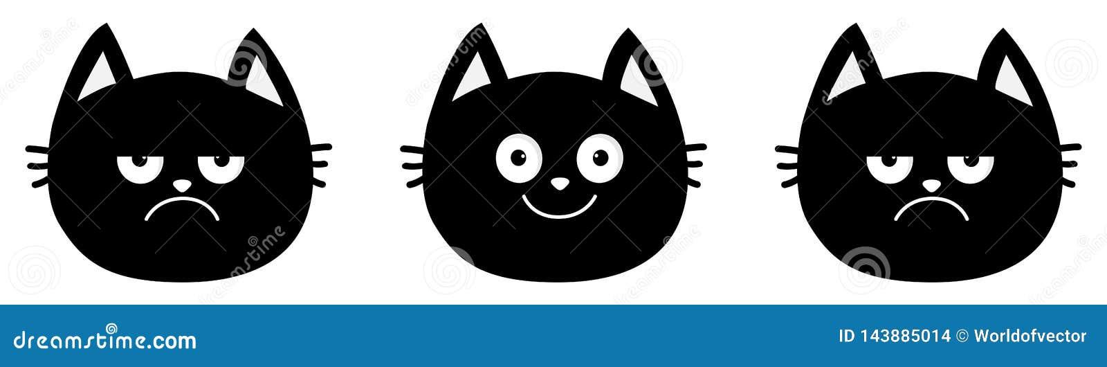 Милая линия черного кота установленная Собрание эмоции Счастливый, усмехаться и унылый, сердитый сторона головы котенка Мультфиль