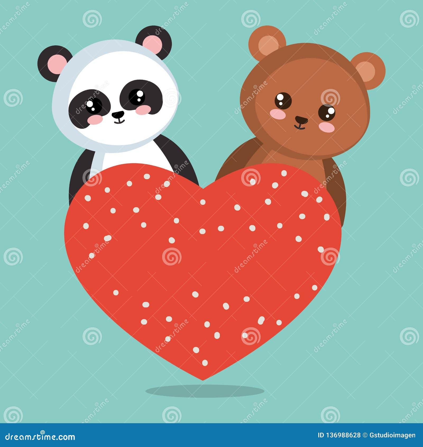 Милая панда медведя с сердцами