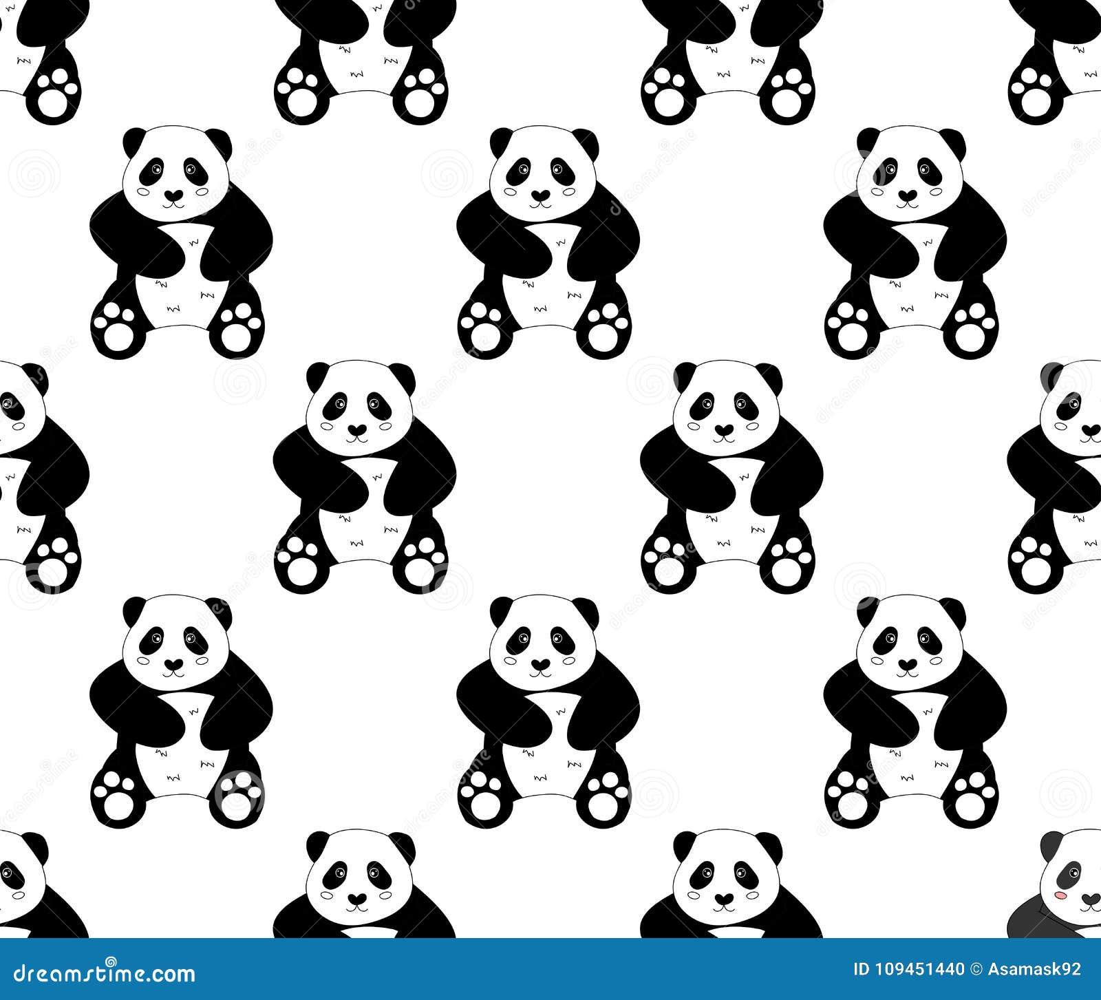 Милая панда на белой предпосылке также вектор иллюстрации притяжки corel