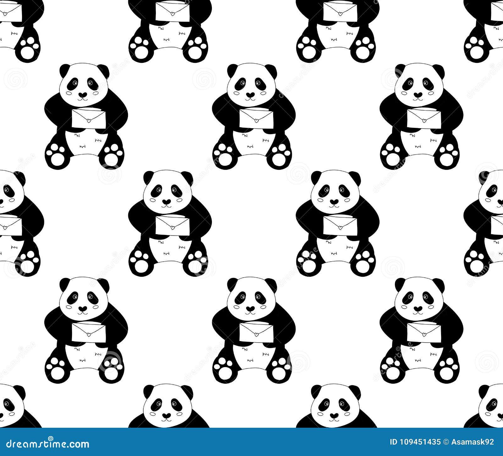 Милая панда с письмом на белой предпосылке также вектор иллюстрации притяжки corel