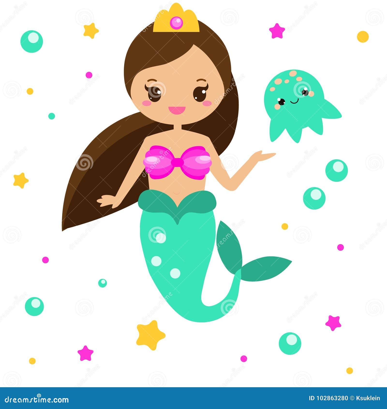 Милая русалка с медузами Персонаж из мультфильма, стиль kawaii также вектор иллюстрации притяжки corel
