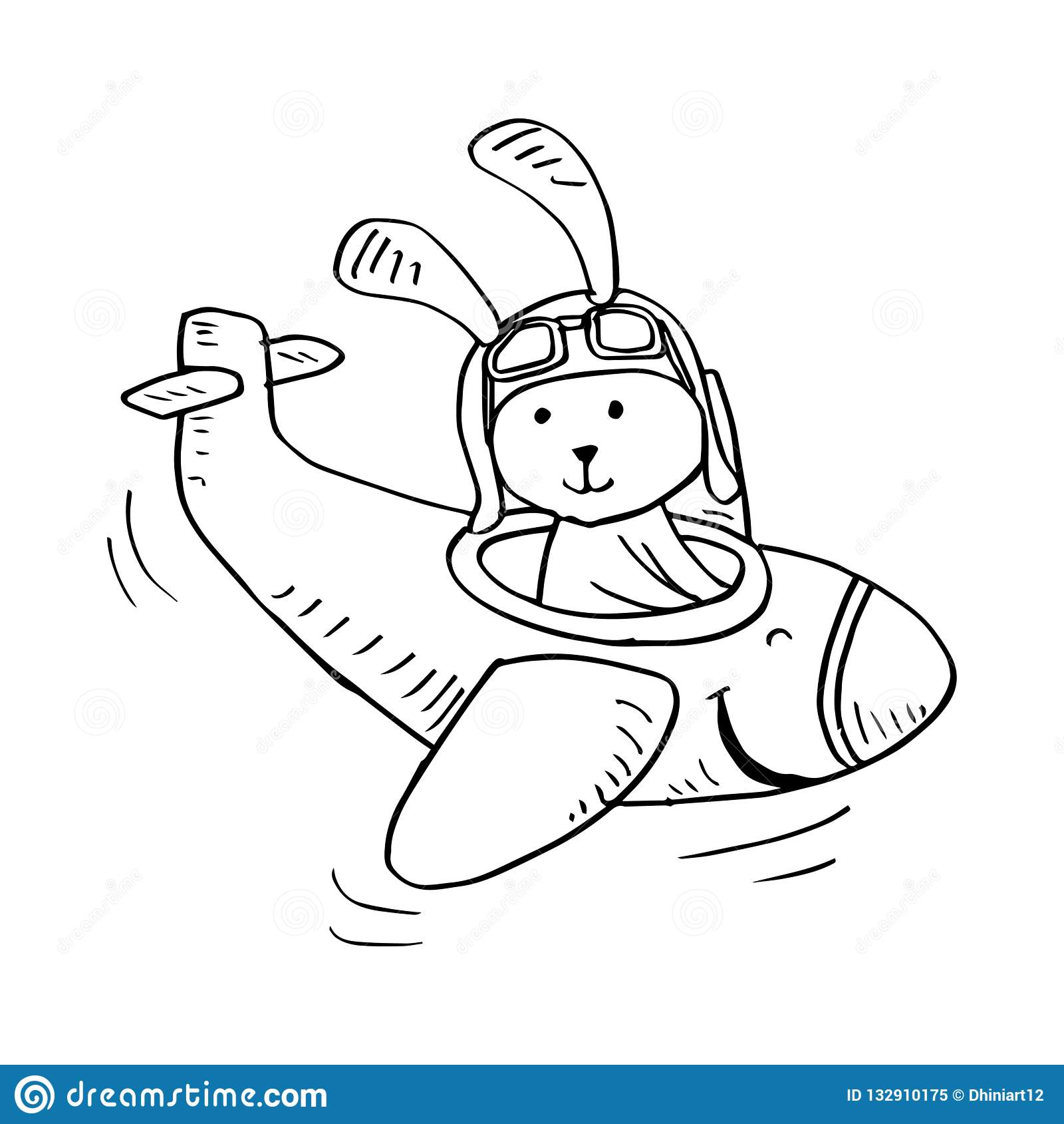 Милое летание кролика на самолете