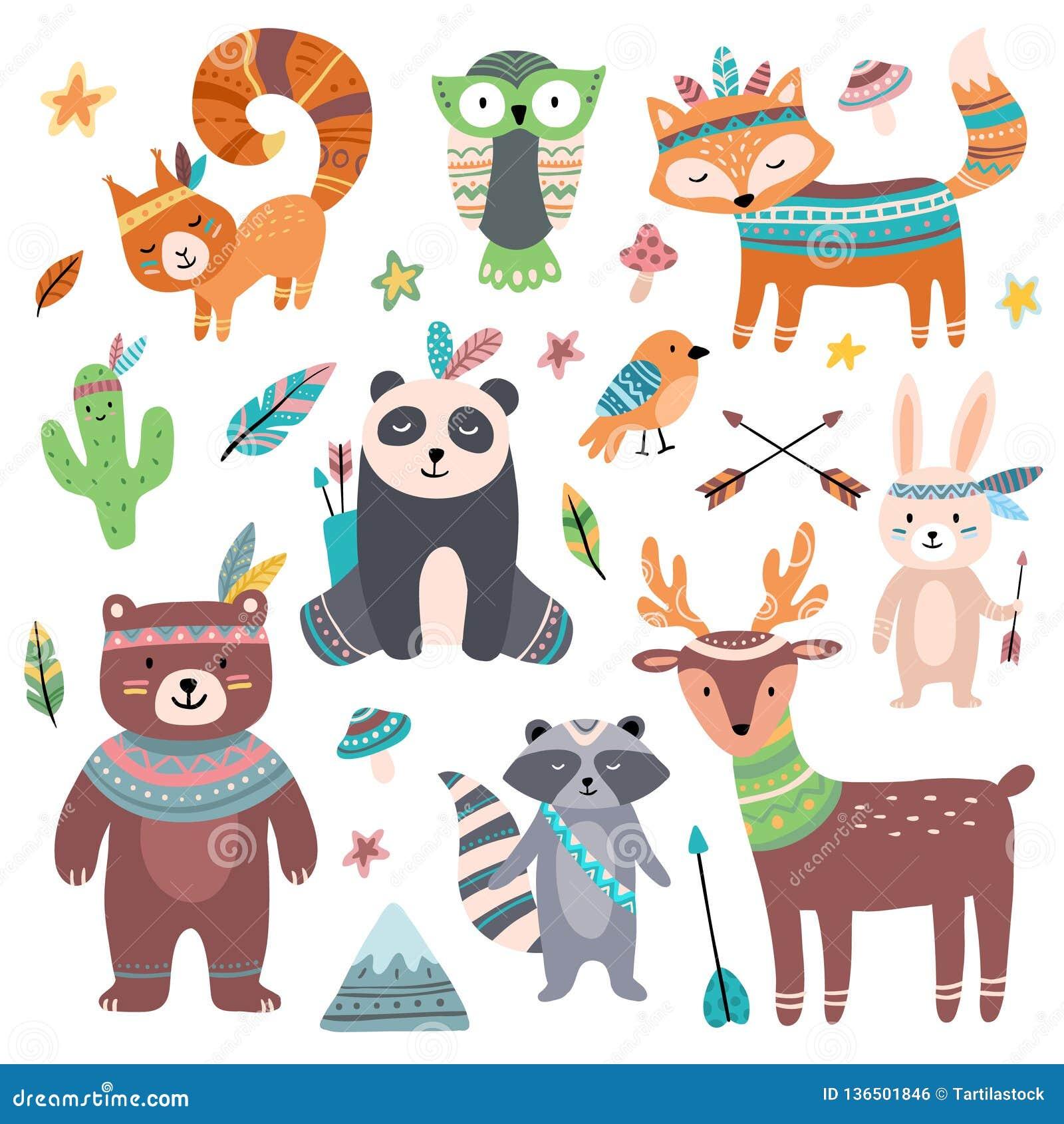 Милое племенное животное Зоопарк диких животных леса, стрелки пера птицы tribals и набор мультфильма wilds изолированный зверем