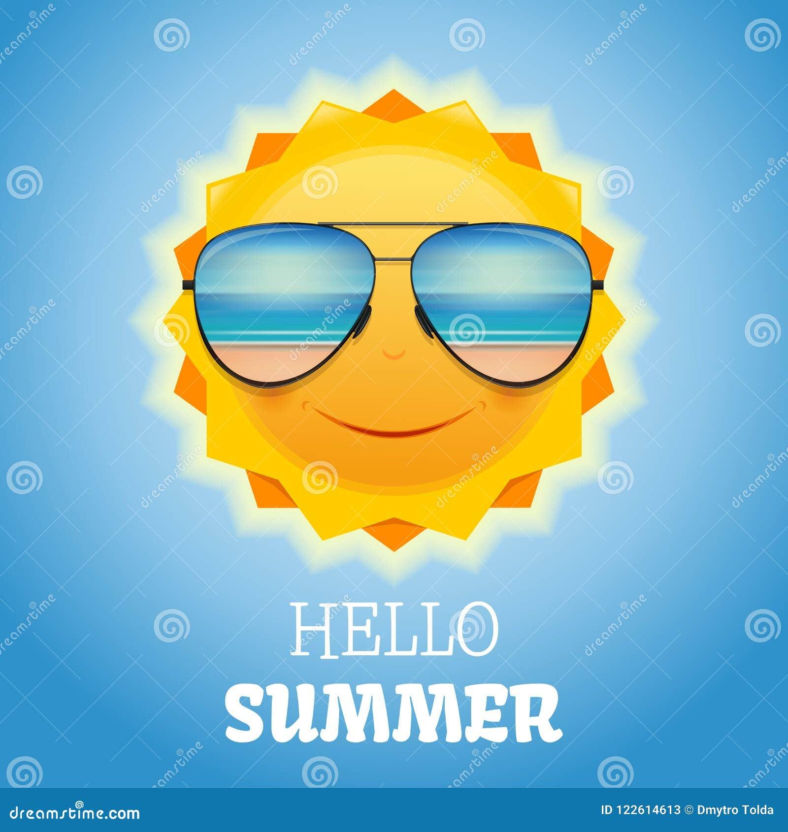 0be9e0055110 Милое усмехаясь солнце в солнечных очках Иллюстрация вектора ...
