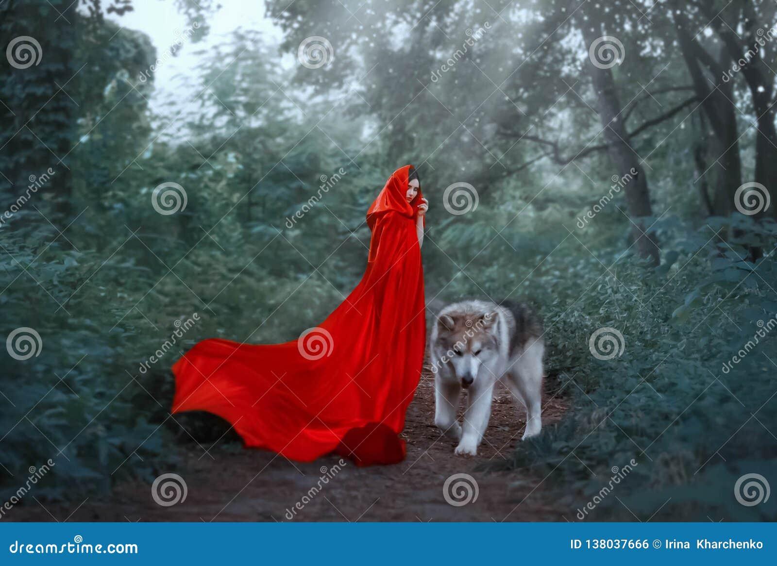 Милое фантастическое изображение характера сказки, загадочной темн-с волосами девушки с алой краской длинного летания развевая яр