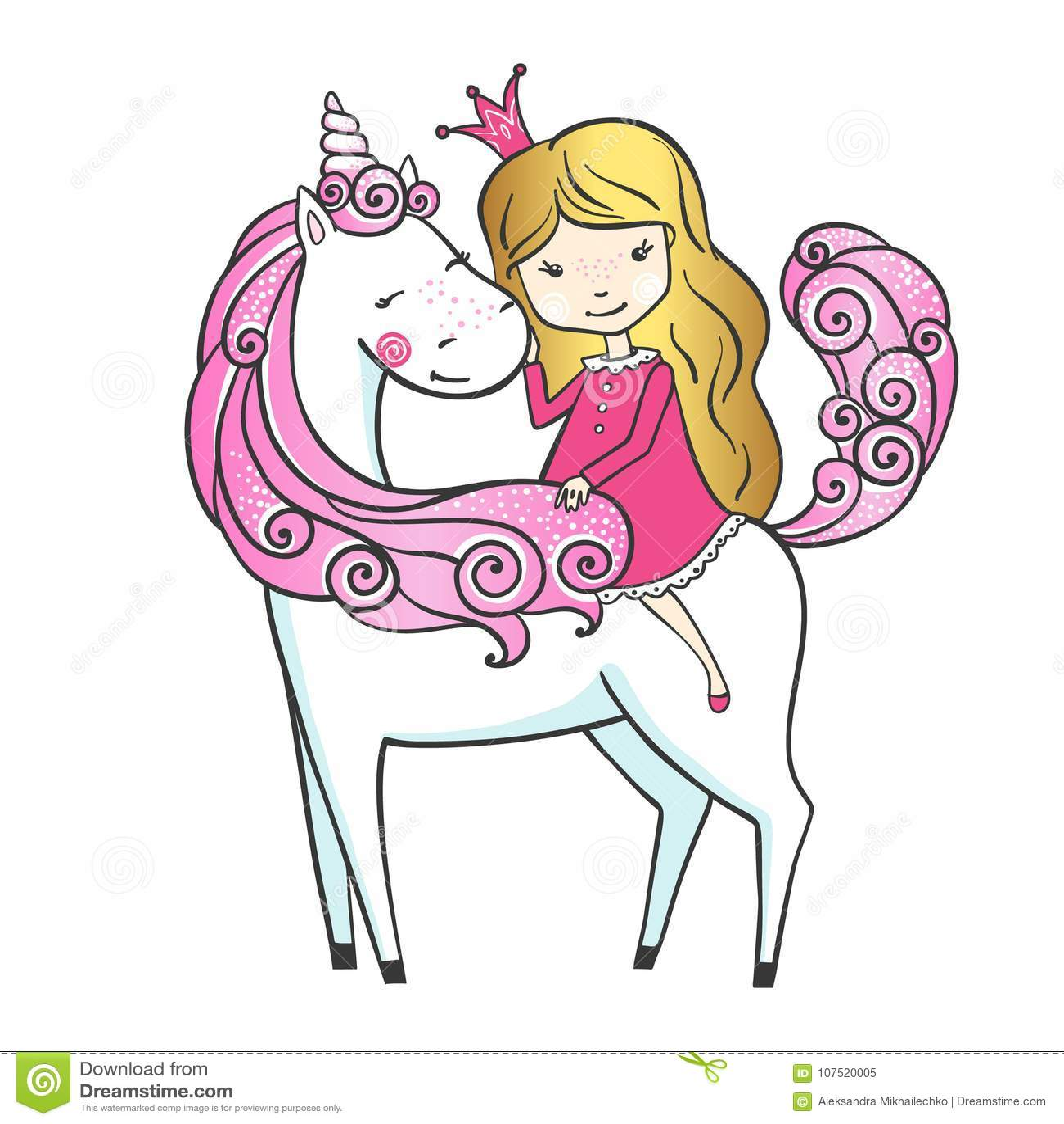 Милой единорог нарисованный рукой с маленькой принцессой ...