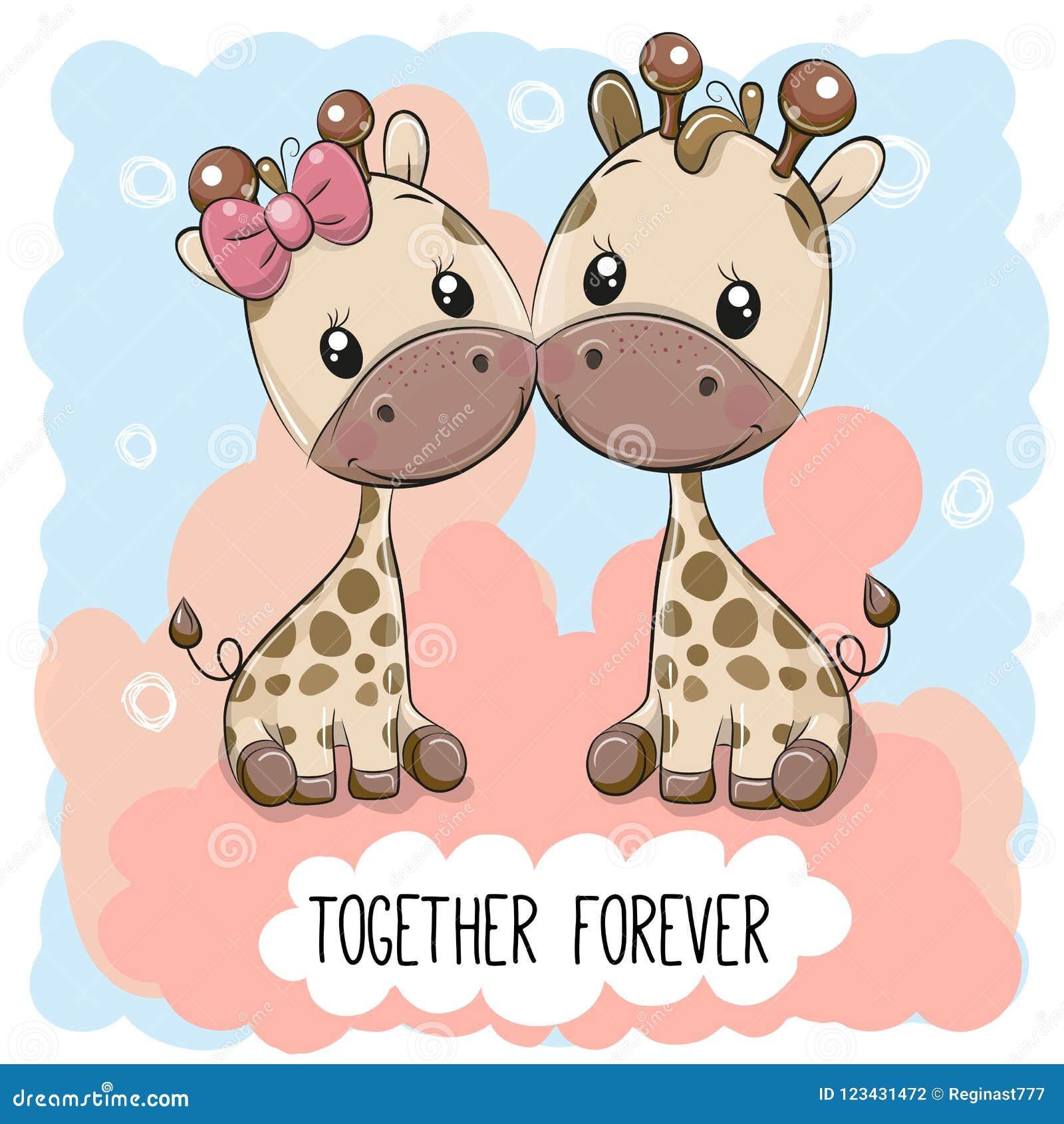 Милые жирафы мальчик и девушка шаржа