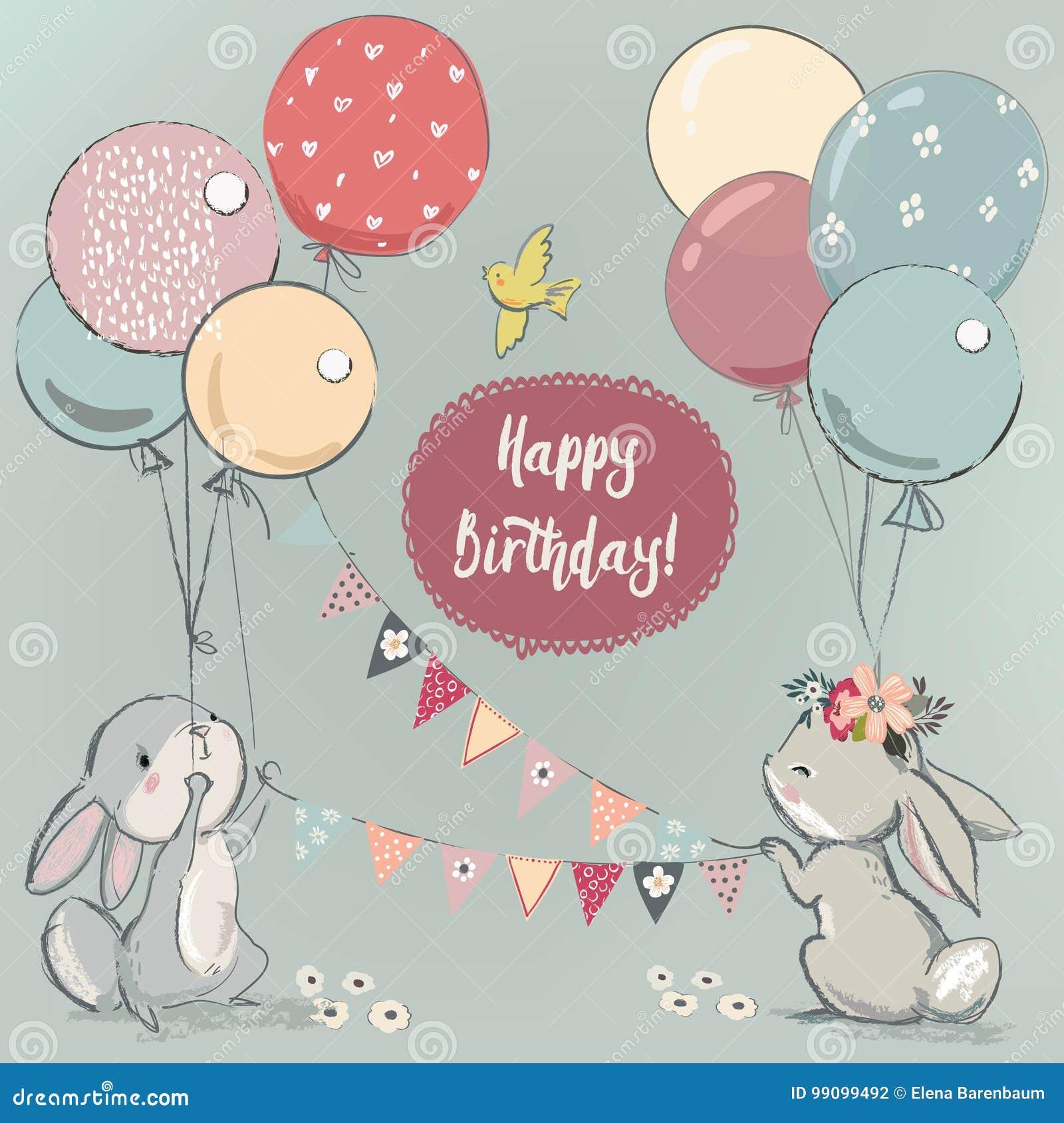 Заяц с шариками картинки на день рождения