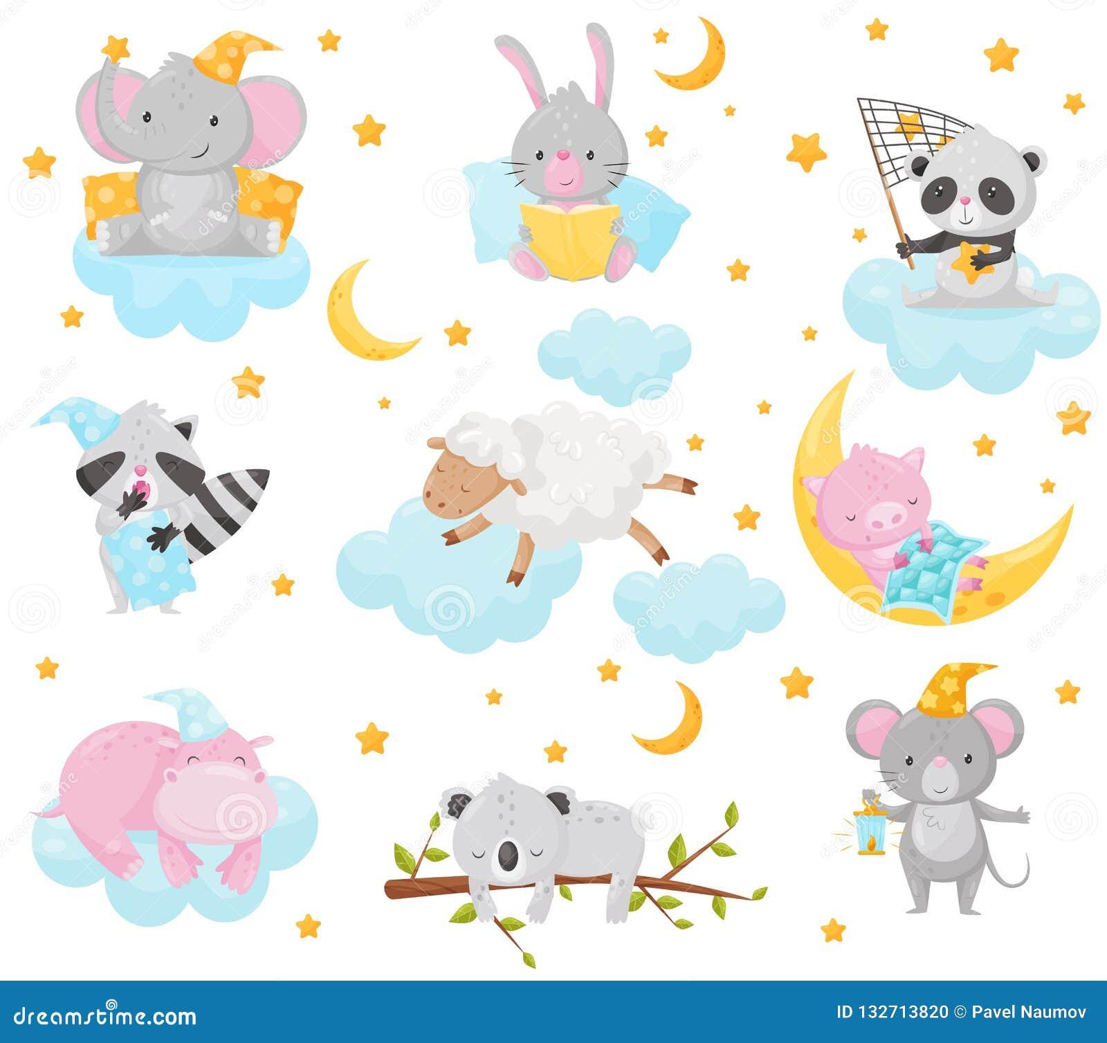 Милые маленькие животные спать под звездным набором неба, прекрасный слон, зайчик, панда, енот, овца, поросенок, гиппопотам