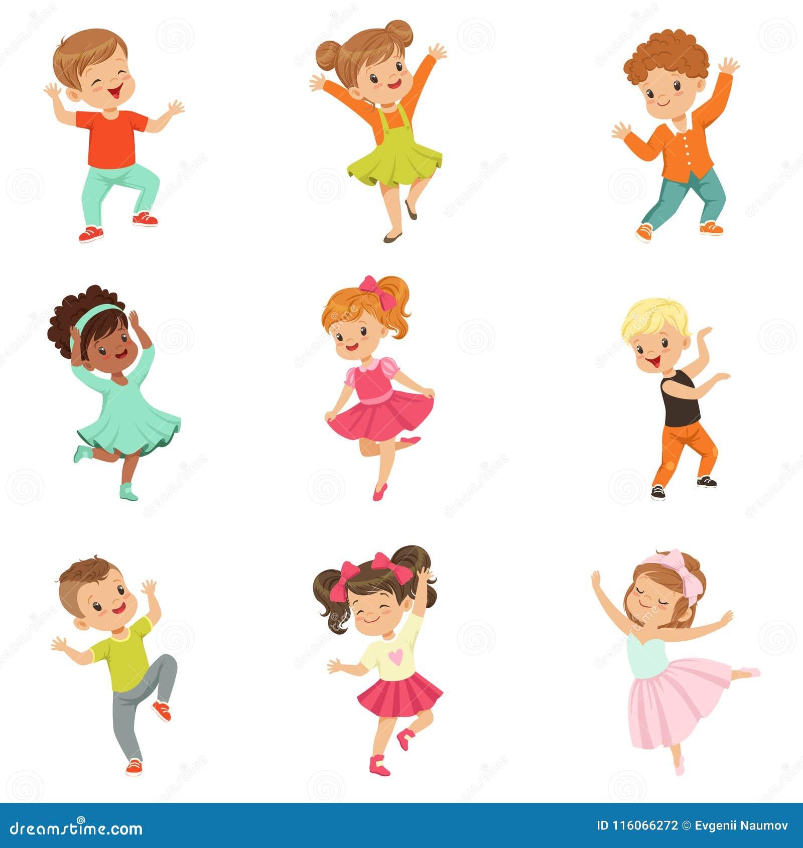 Милые маленькие ребеята танцуя танец комплекта, современных и классических выполнили иллюстрациями вектора детей на белизне