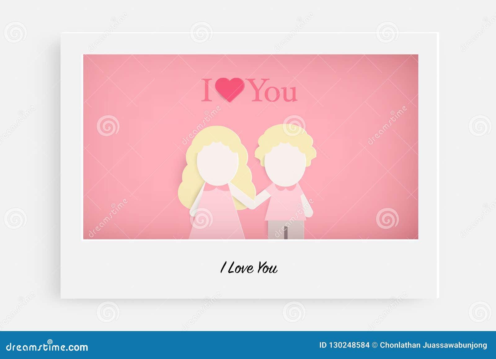 Милые пары в любов на розовых предпосылке и тексте я тебя люблю