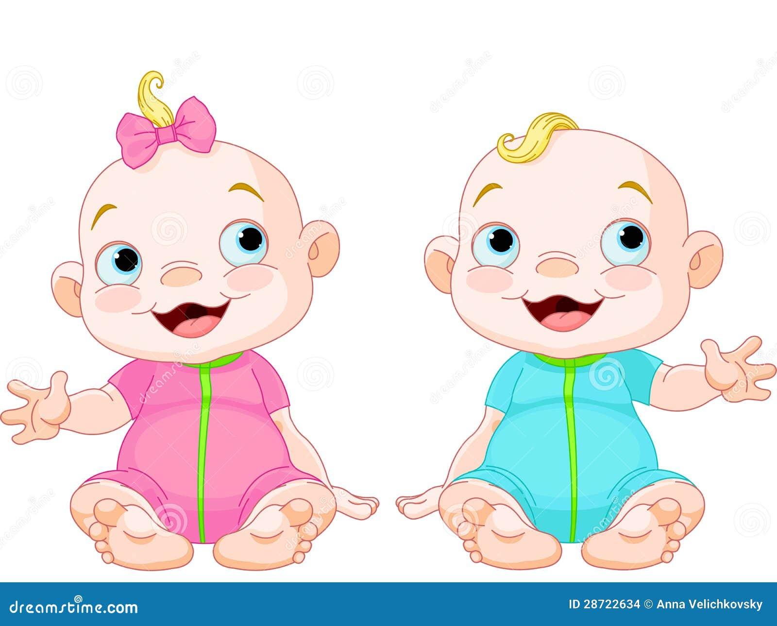 Meninos E Meninas De Nacionalidades Diferentes Childre: Милые ся близнецы иллюстрация