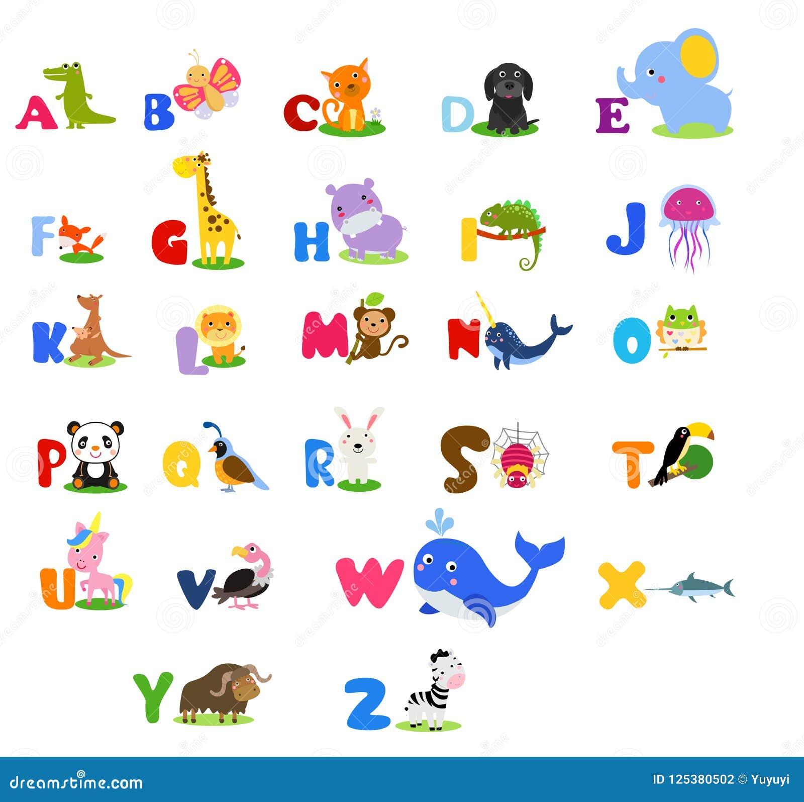Милый английский язык проиллюстрировал алфавит зоопарка с милым животным шаржа иконы