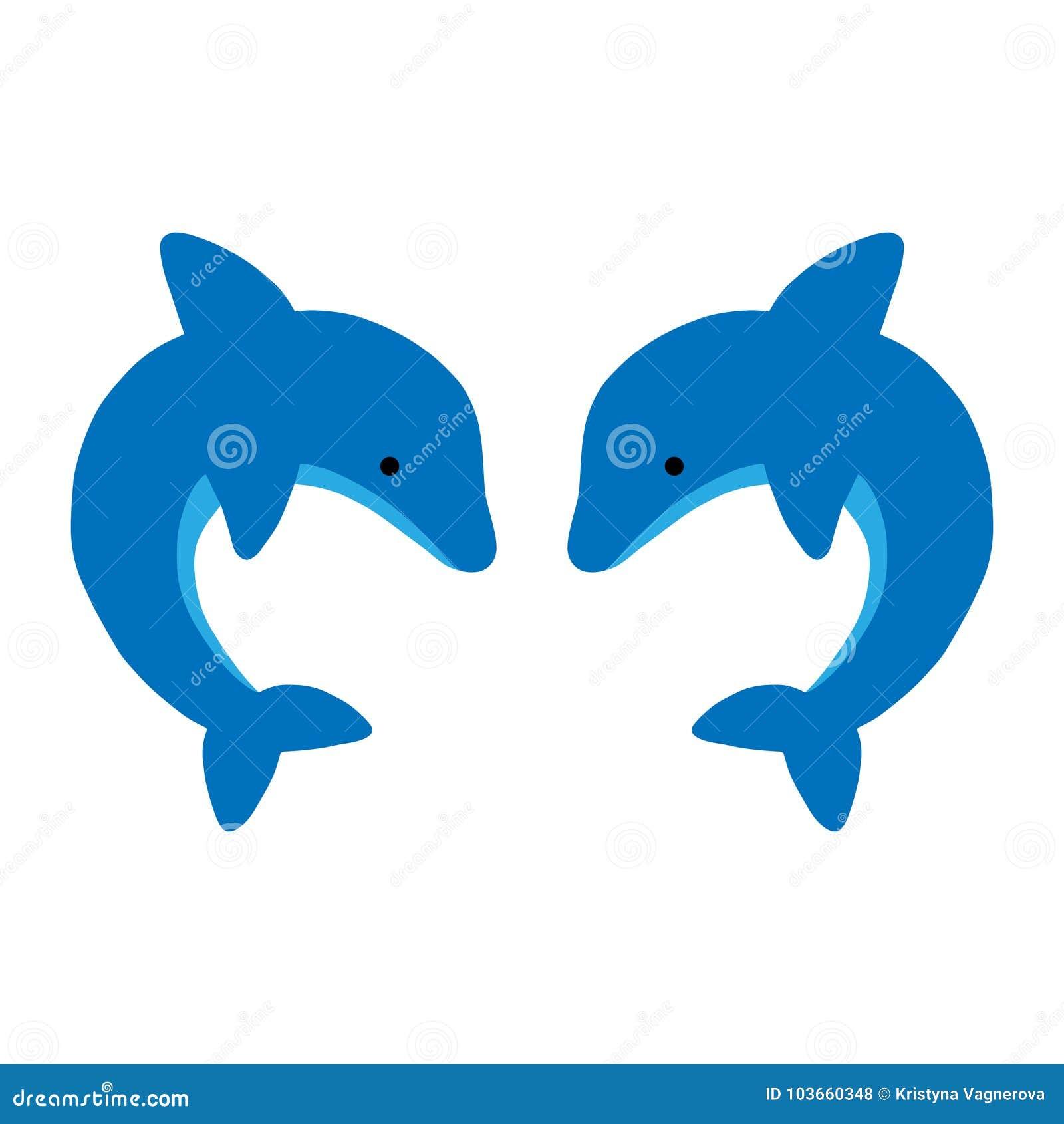 Милый вектор 2 голубой дельфинов