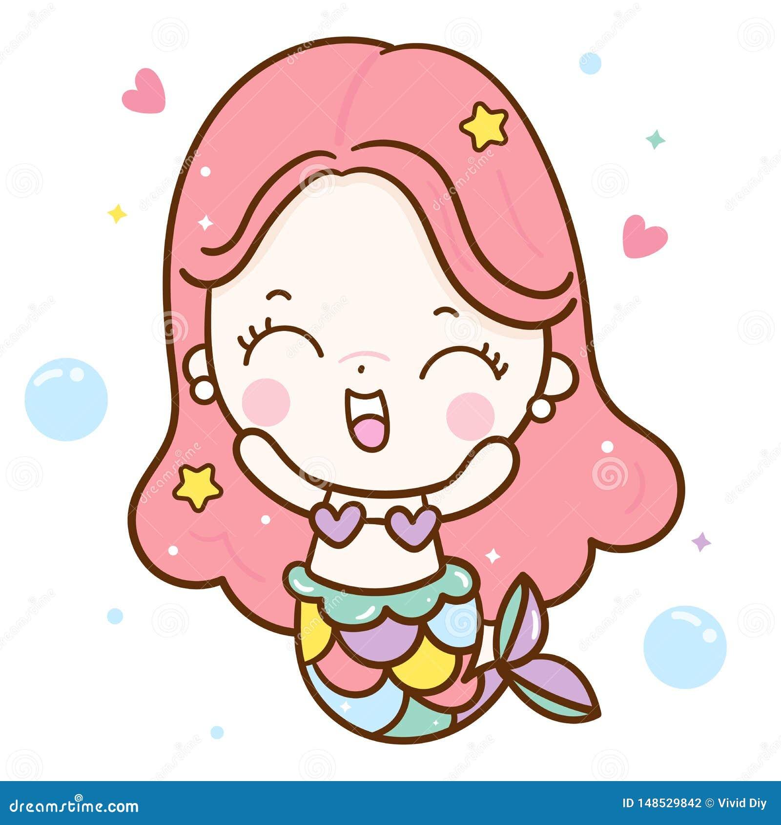 Милый вектор русалки, счастливая сказка характера Kawaii мультфильма девушки