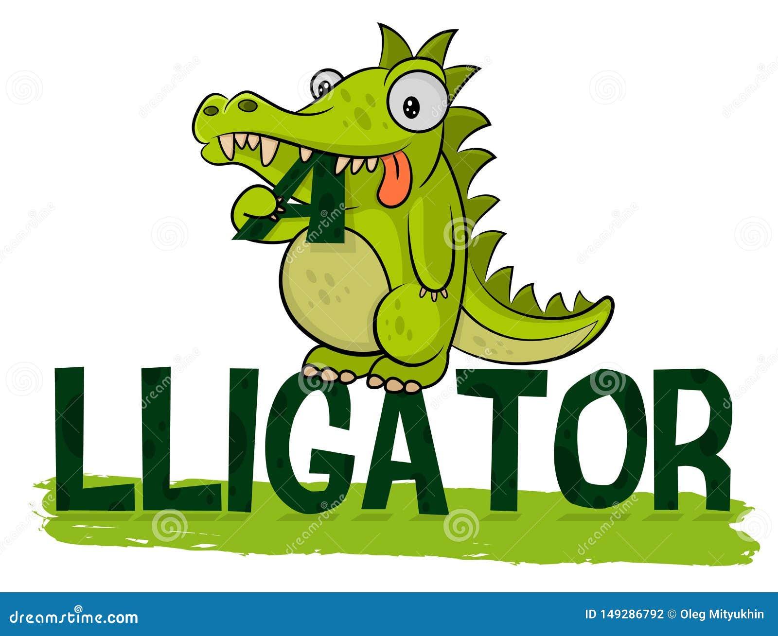 Милый голодный аллигатор ест логотип Вектор логотипа крокодила Иллюстрация аллигатора Жирное маленькое croc Дружелюбное животное