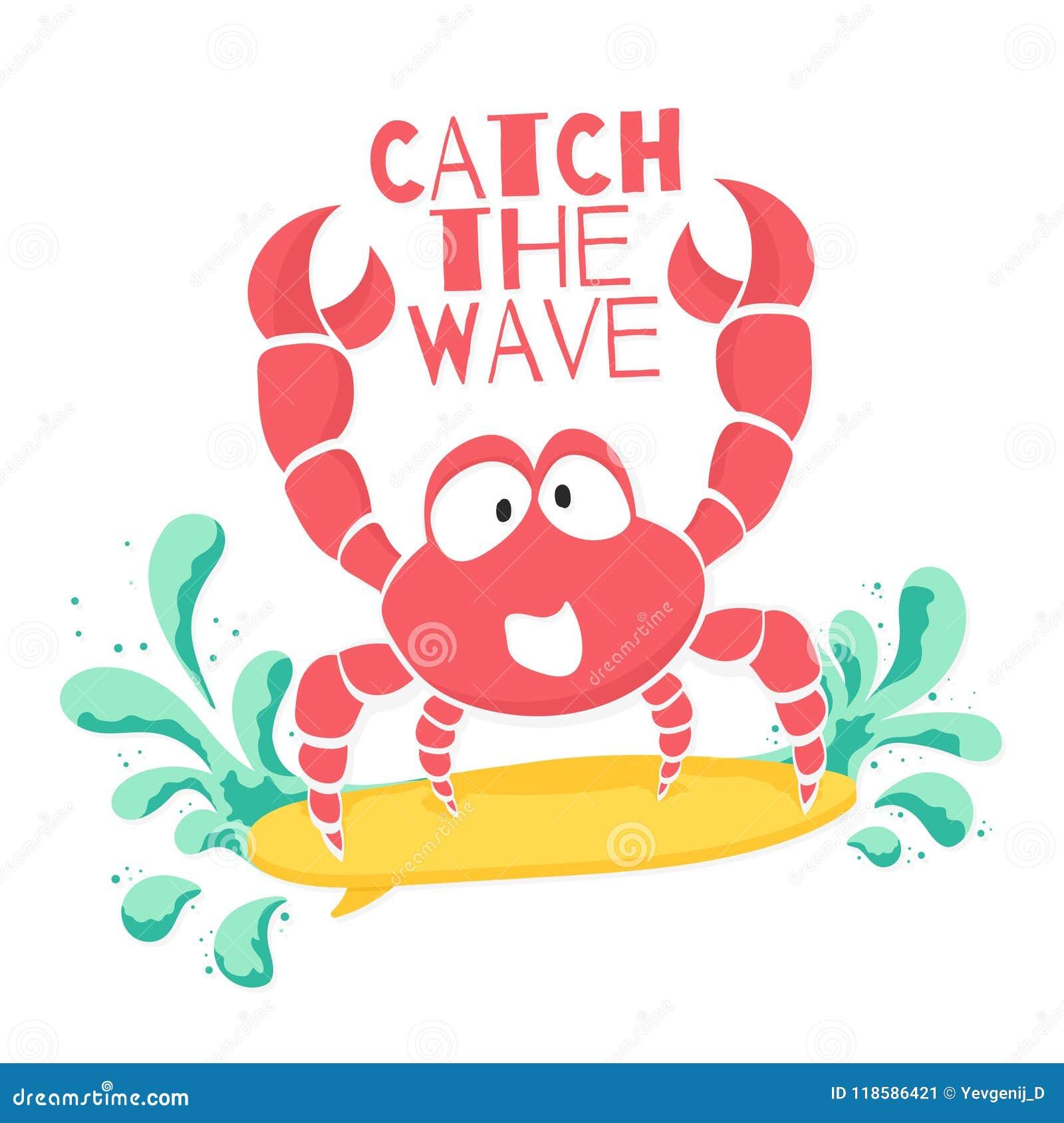 Милый дизайн футболки для детей Смешной краб занимается серфингом на волне в стиле шаржа График футболки с лозунгом