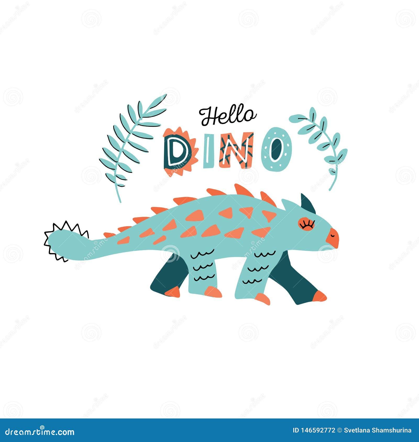 Милый динозавр с характером вектора руки цвета шипов вычерченным Здравствуйте литерность dino рукописная Clipart Dino плоское han