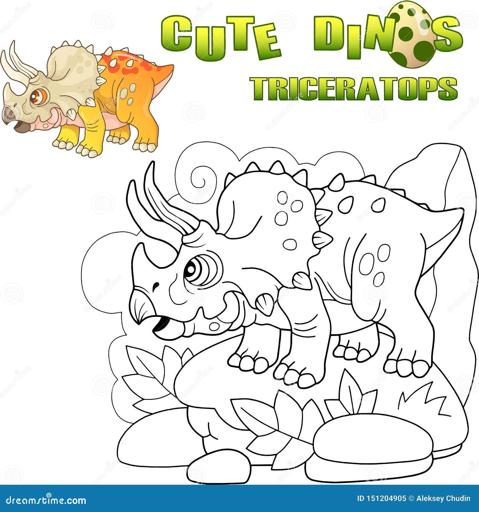 Милый доисторический трицератопс динозавра, смешная иллюстрация