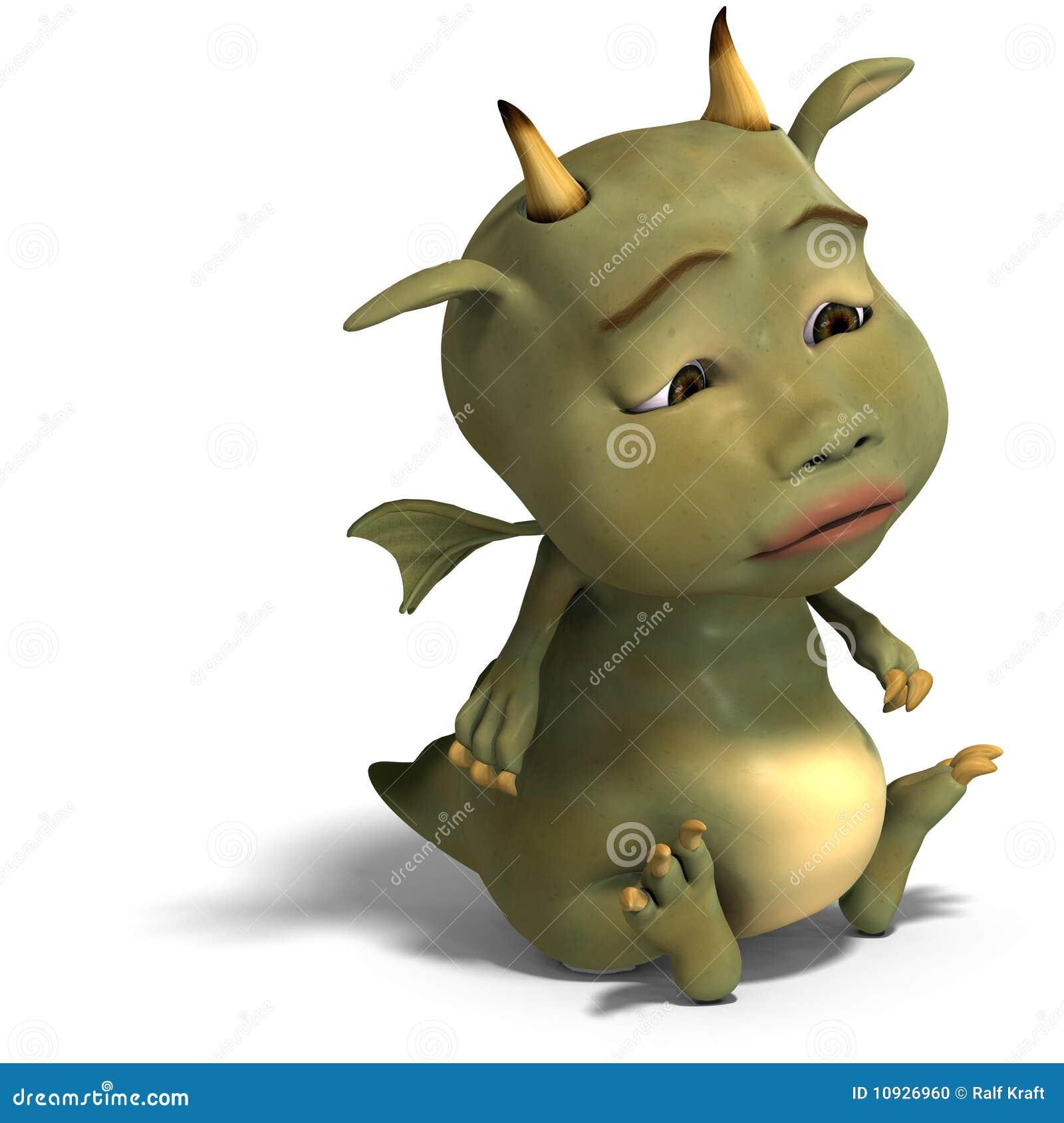 милый зеленый цвет маленький toon дракона дьявола