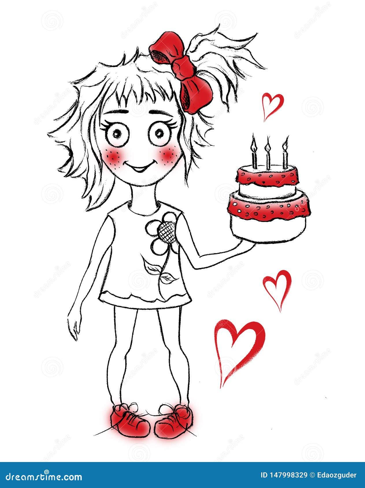 милый именниный пирог с девушкой