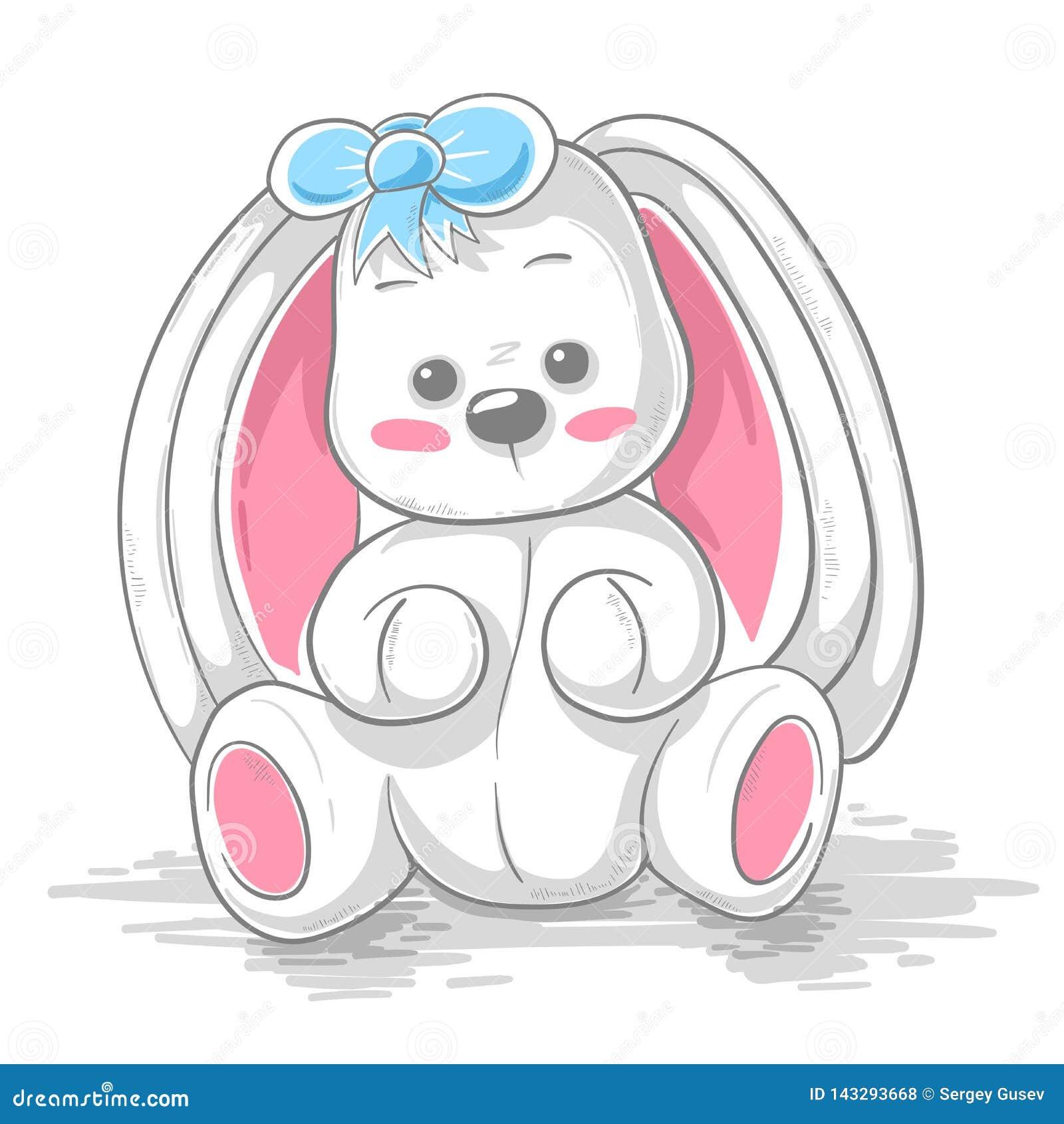 Милый кролик игрушечного - иллюстрация мультфильма