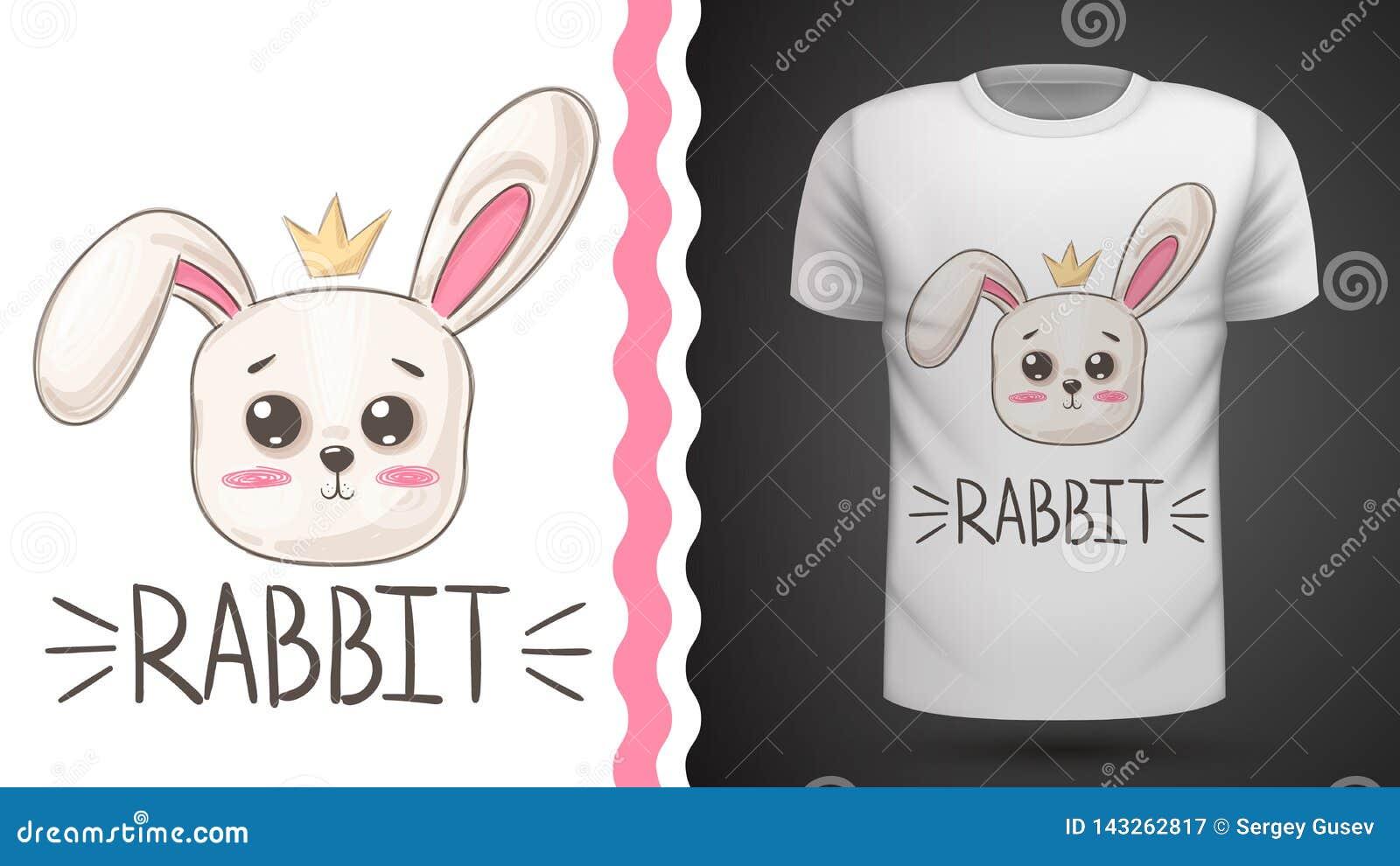 Милый кролик - идея для футболки печати
