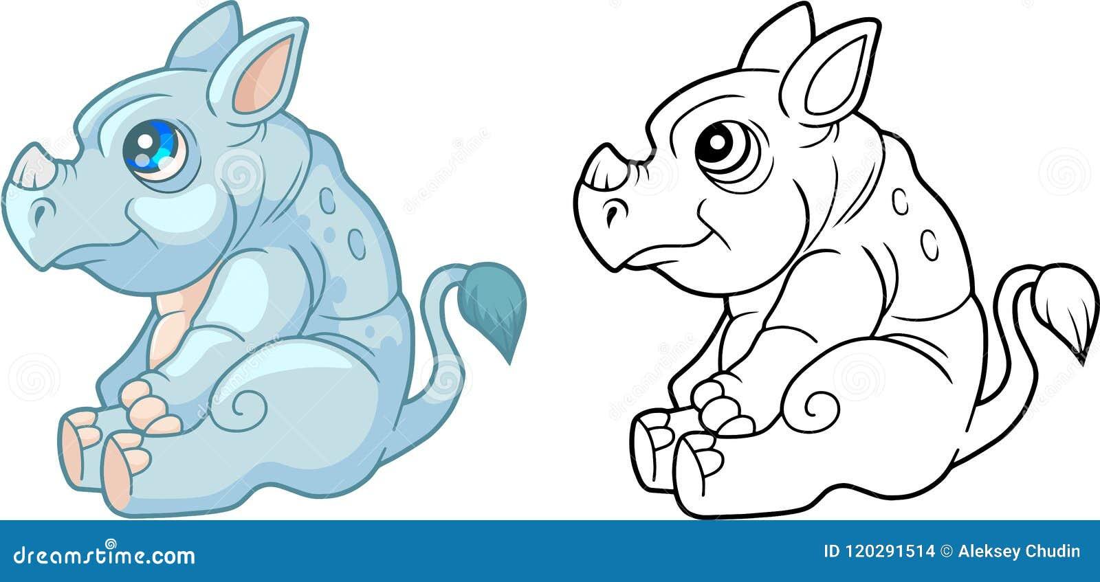 милый маленький носорог смешная книжка раскраска