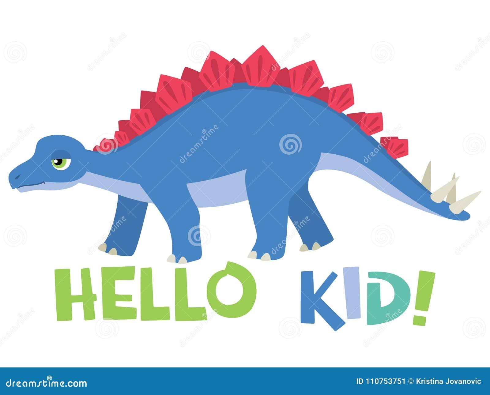 Милый маленький стегозавр со здравствуйте литерностью ребенк изолированной на белой иллюстрации вектора