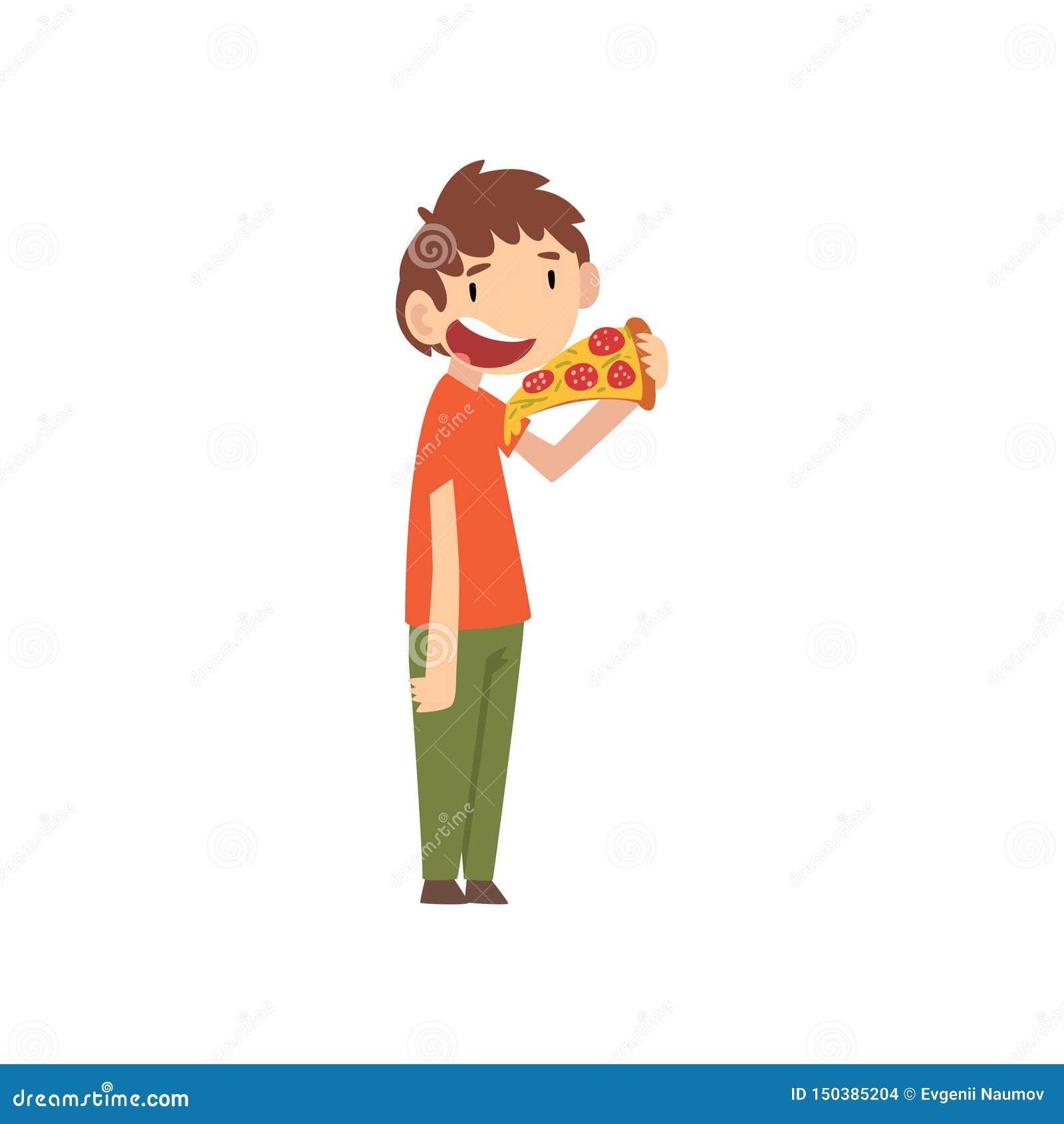 Милый мальчик есть пиццу, ребенка наслаждаясь едой иллюстрации вектора фаст-фуда