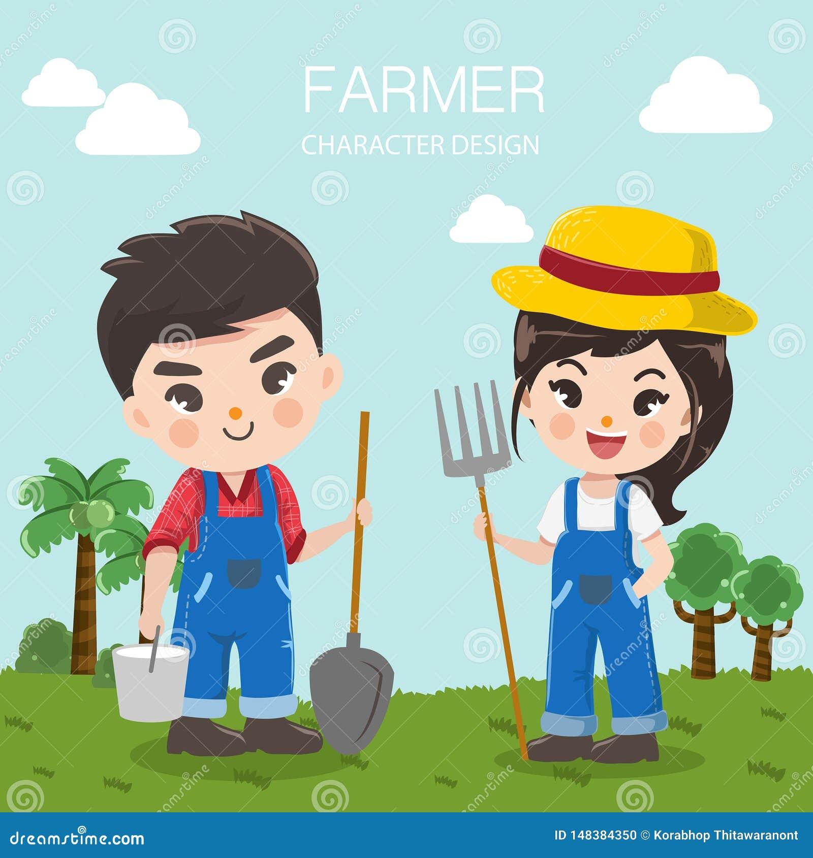 Милый мальчик и девушка фермера в большой ферме