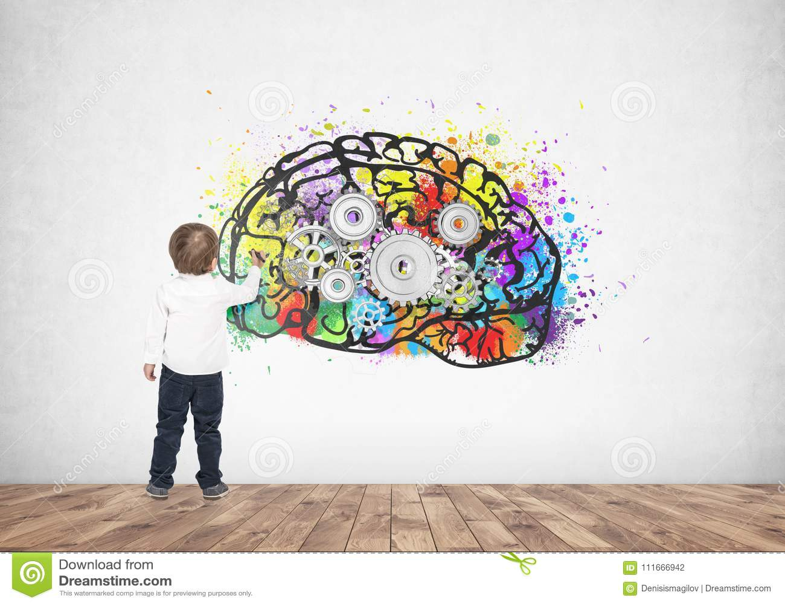 Милый мозг cog отметки чертежа сочинительства мальчика