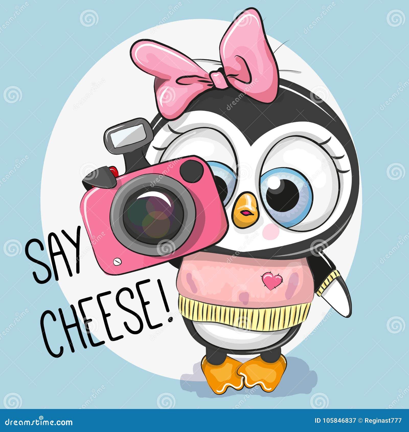 Милый пингвин шаржа с камерой