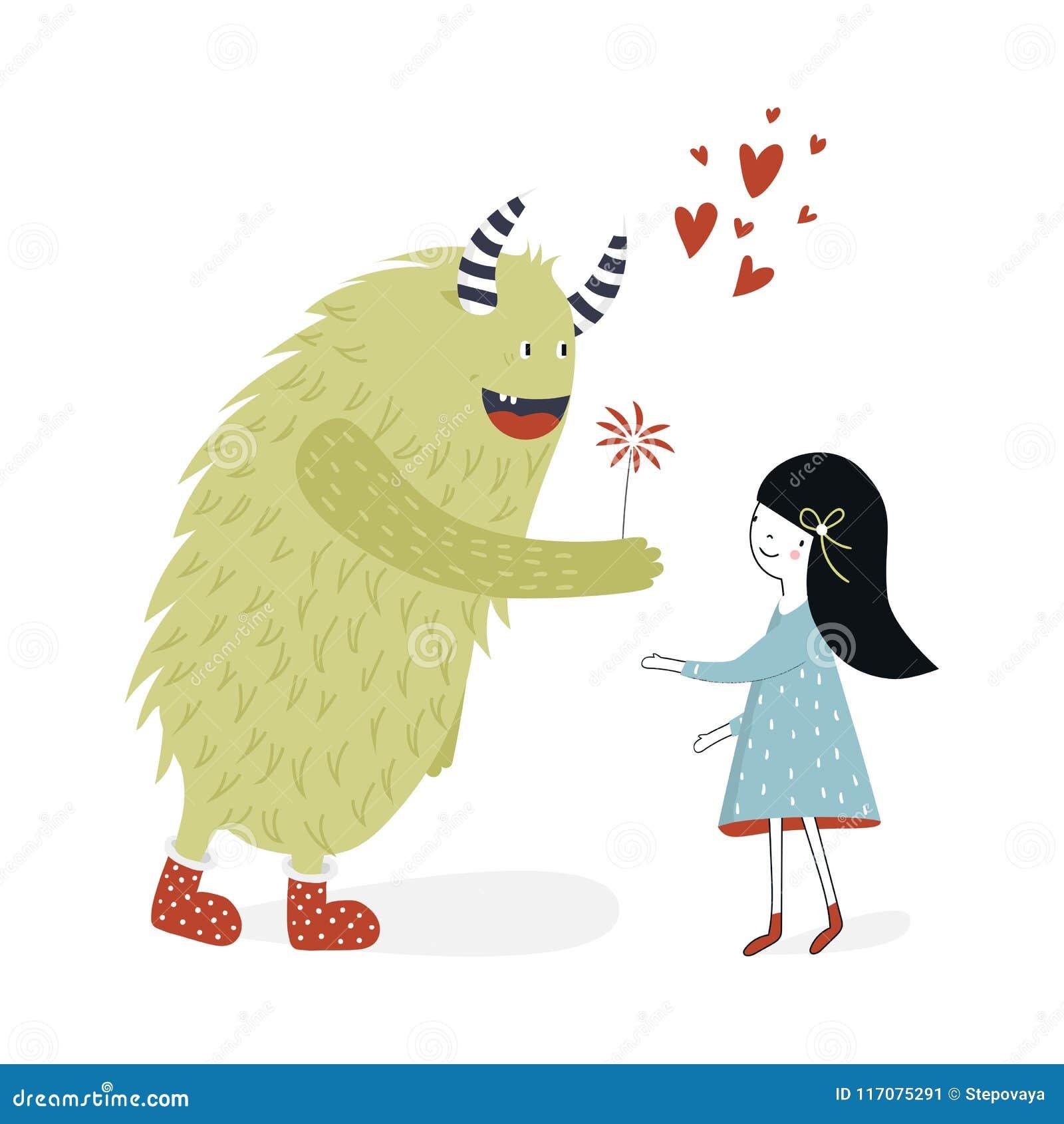 Милый плакат питомника с девушкой и извергом Иллюстрация вектора в скандинавском стиле
