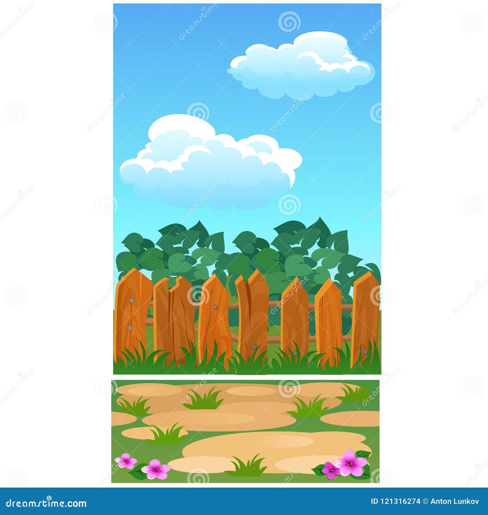 Милый плакат с деревянной загородкой для загородного дома, парка или коттеджа Иллюстрация конца-вверх шаржа вектора