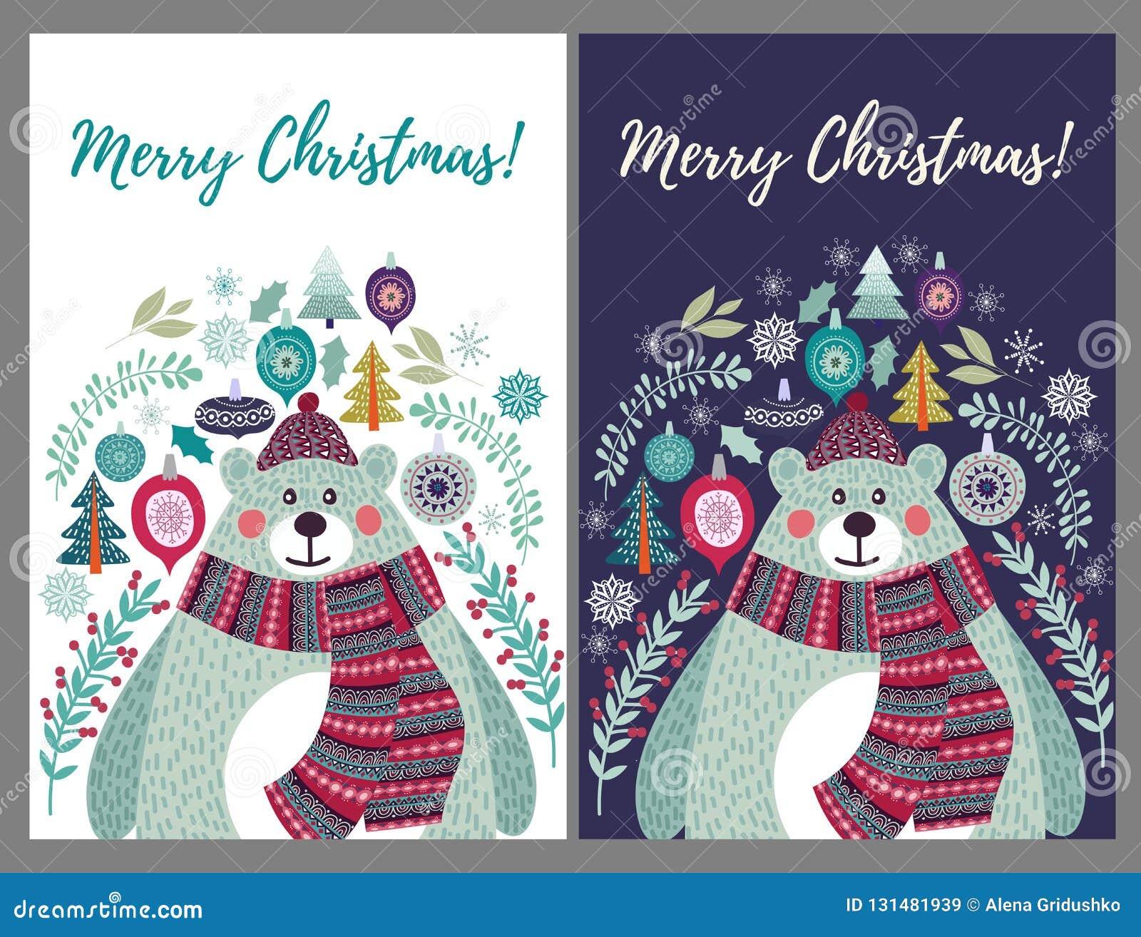Милый полярный медведь в шляпе и шарфе Установите 2 вариантов для шаблонов рождественских открыток в стиле плоских doodles, векто