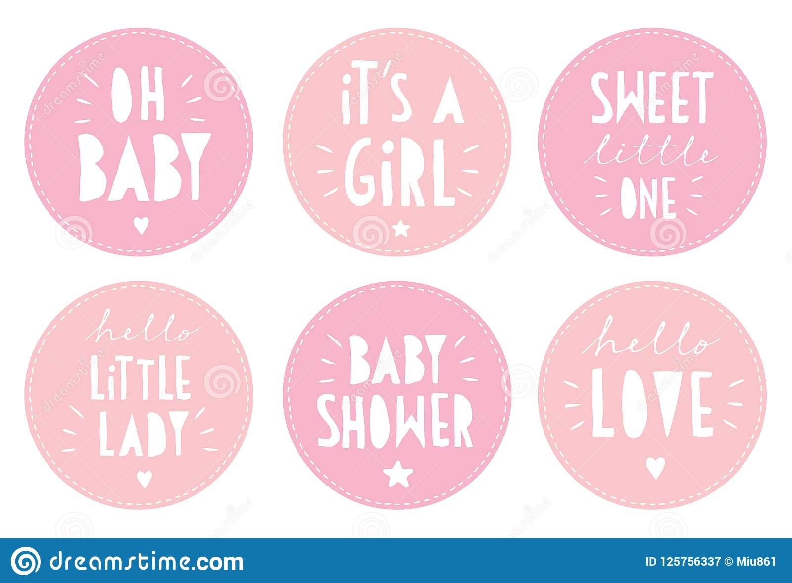 Милый розовый комплект стикера вектора детского душа Оно ` s партия девушки