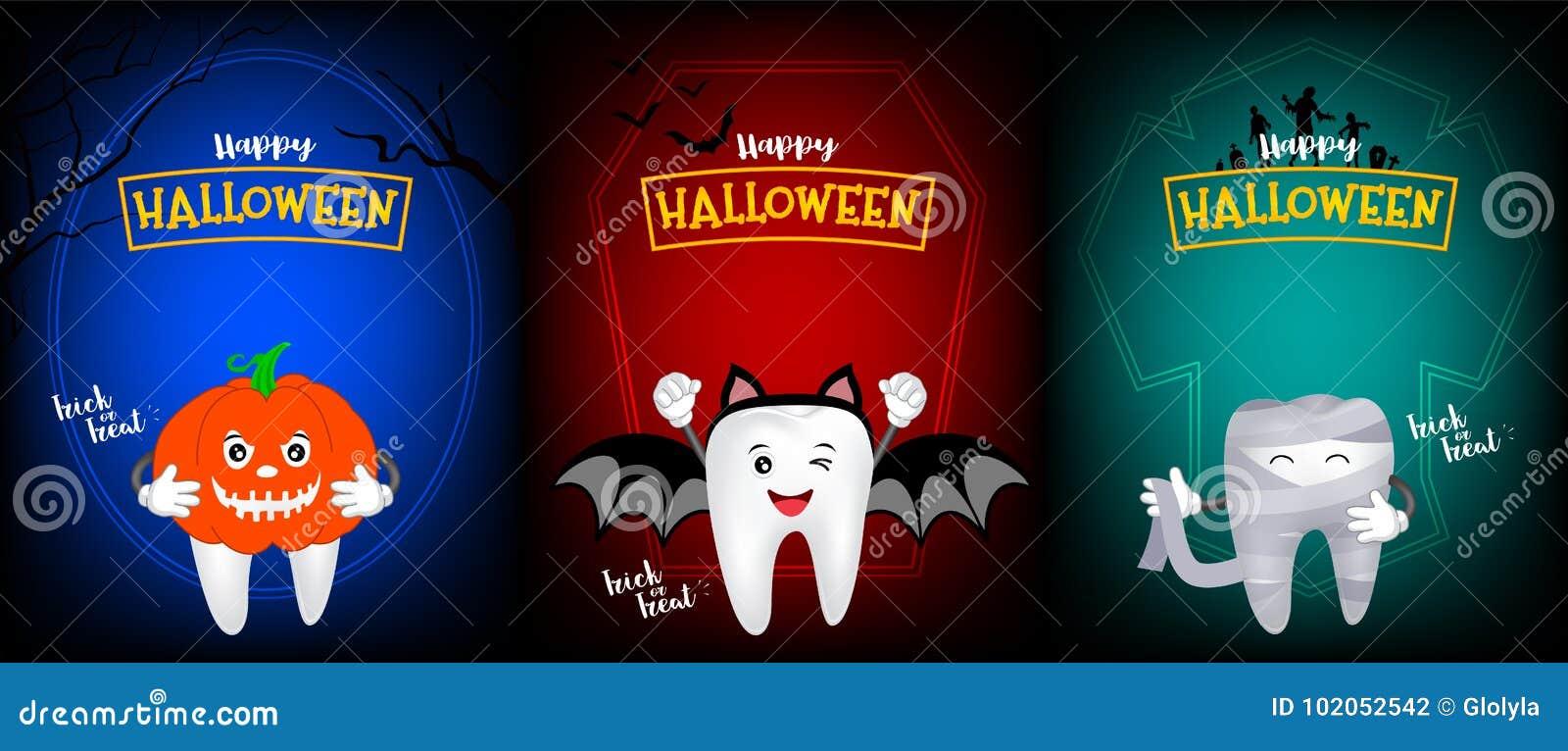 Милый страшный дизайн характера зуба тыквы, летучей мыши и мумии