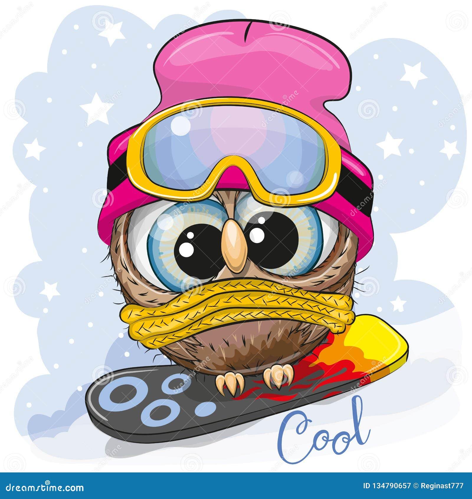 Милый сыч мультфильма на сноуборде
