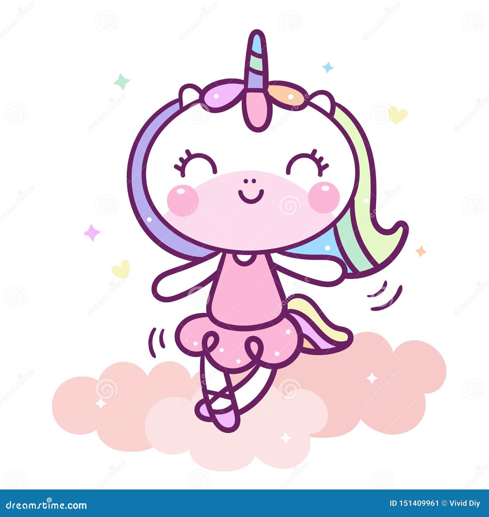 Милый танец мультфильма единорога на пастельном цвете вектора младенца облака животном со звездой сердца и любов, ребенк украшени