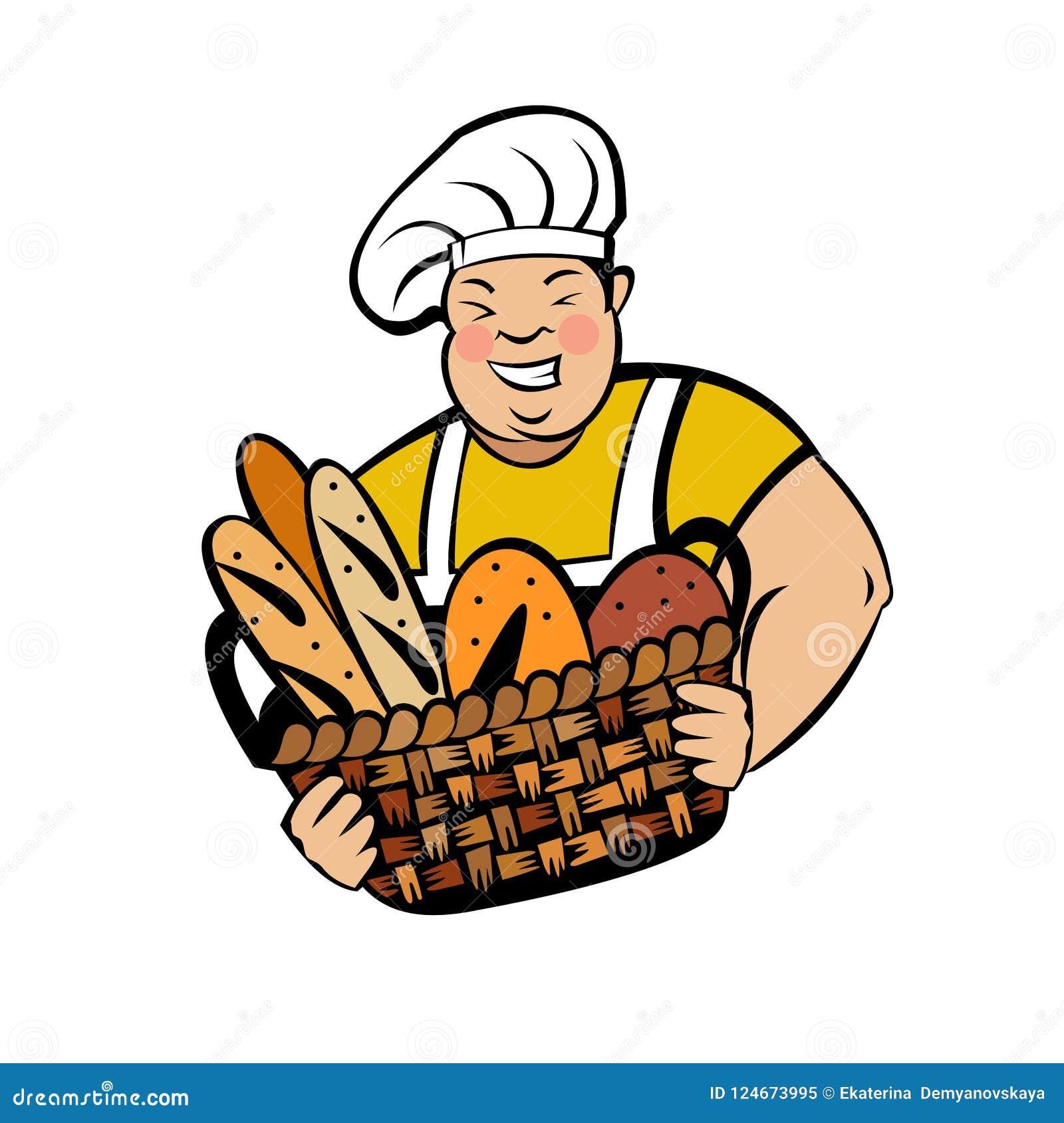 Милый тучный хлебопек с корзиной свежего хлеба Логотип хлебопекарни вектора