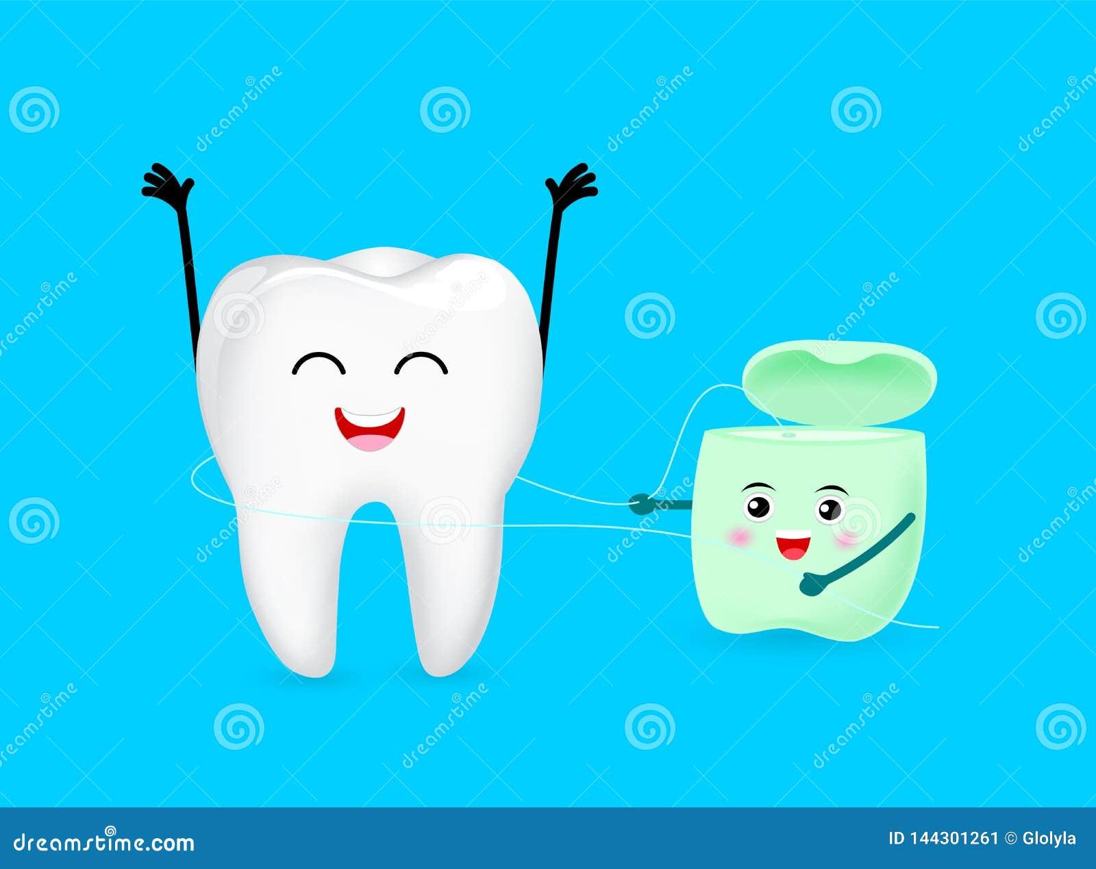Милый характер зуба мультфильма очищенный зубоврачебной зубочисткой