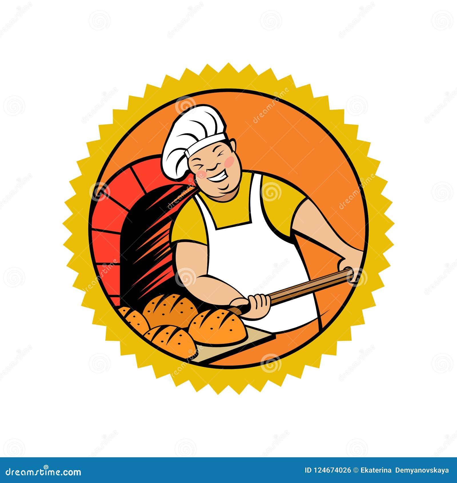 Милый хлебопек принимает хлеб из печи Эмблема хлебопекарни вектора
