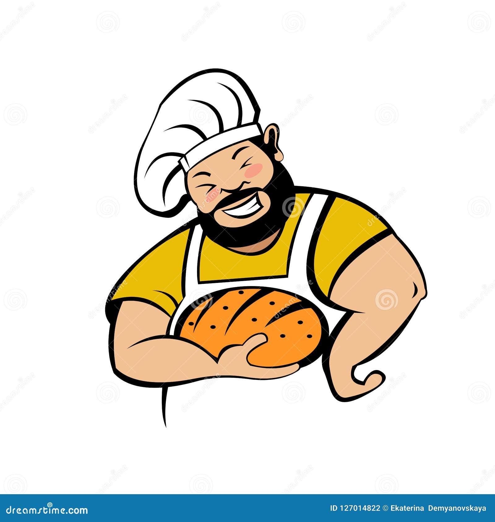 Милый хлебопек с свеже испеченным хлебом сеть вектора логоса глобуса