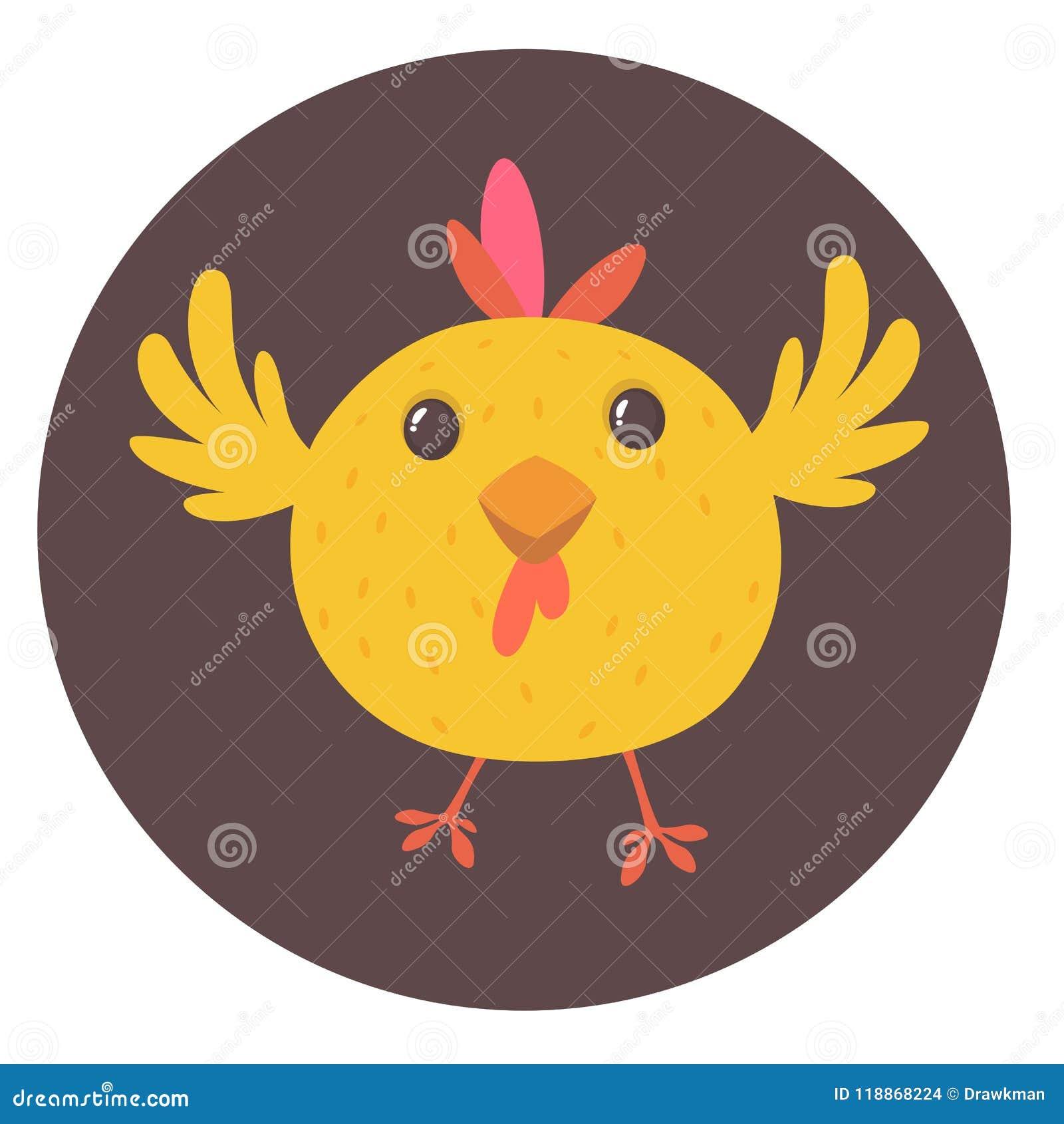 Милый цыпленок желтого цвета шаржа ландшафт фермы животных лето много sheeeps Иллюстрация вектора милого цыпленка Глумитесь вверх