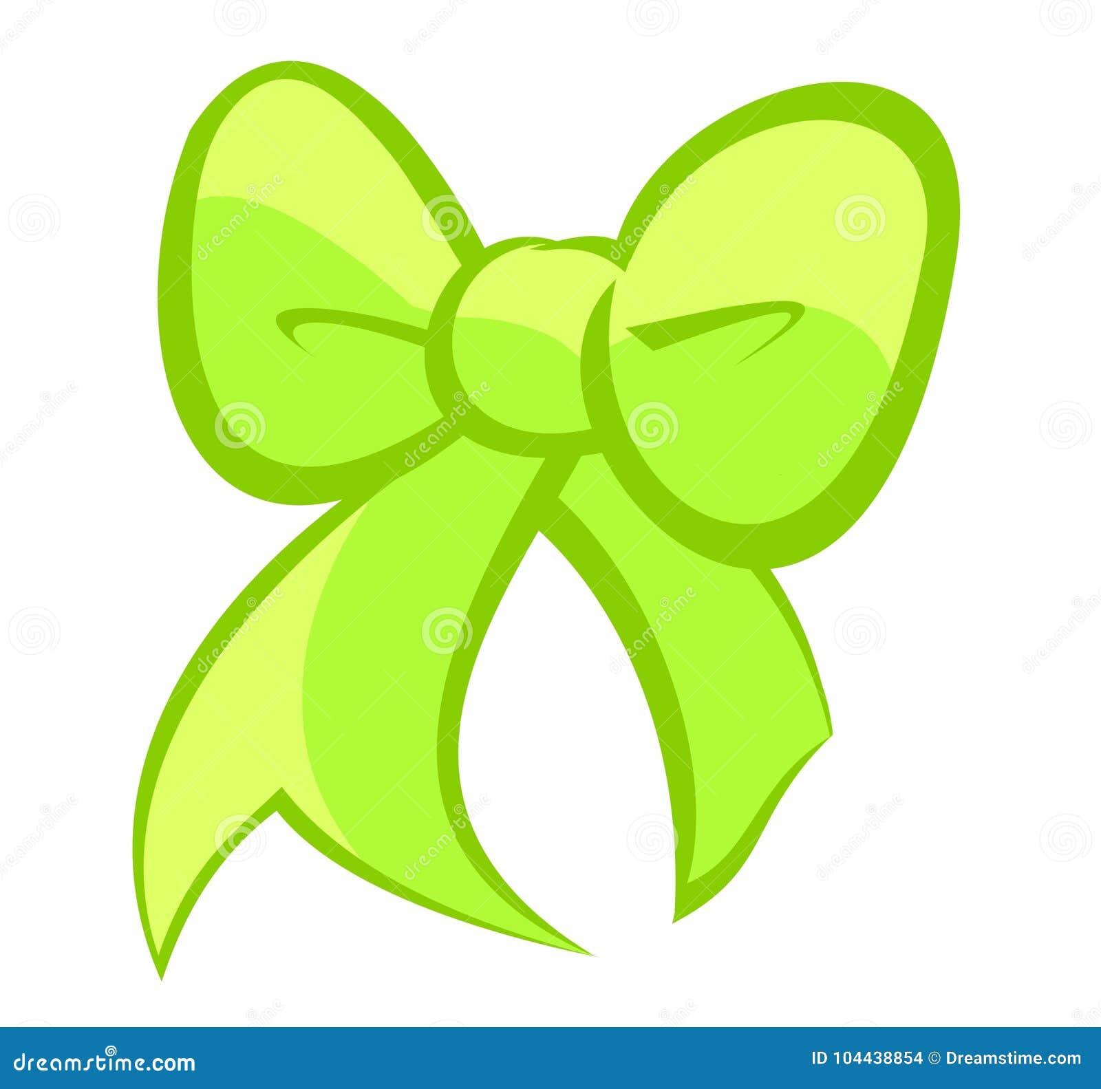 Милый яркий электрический зеленый и светлый смычок цитрона